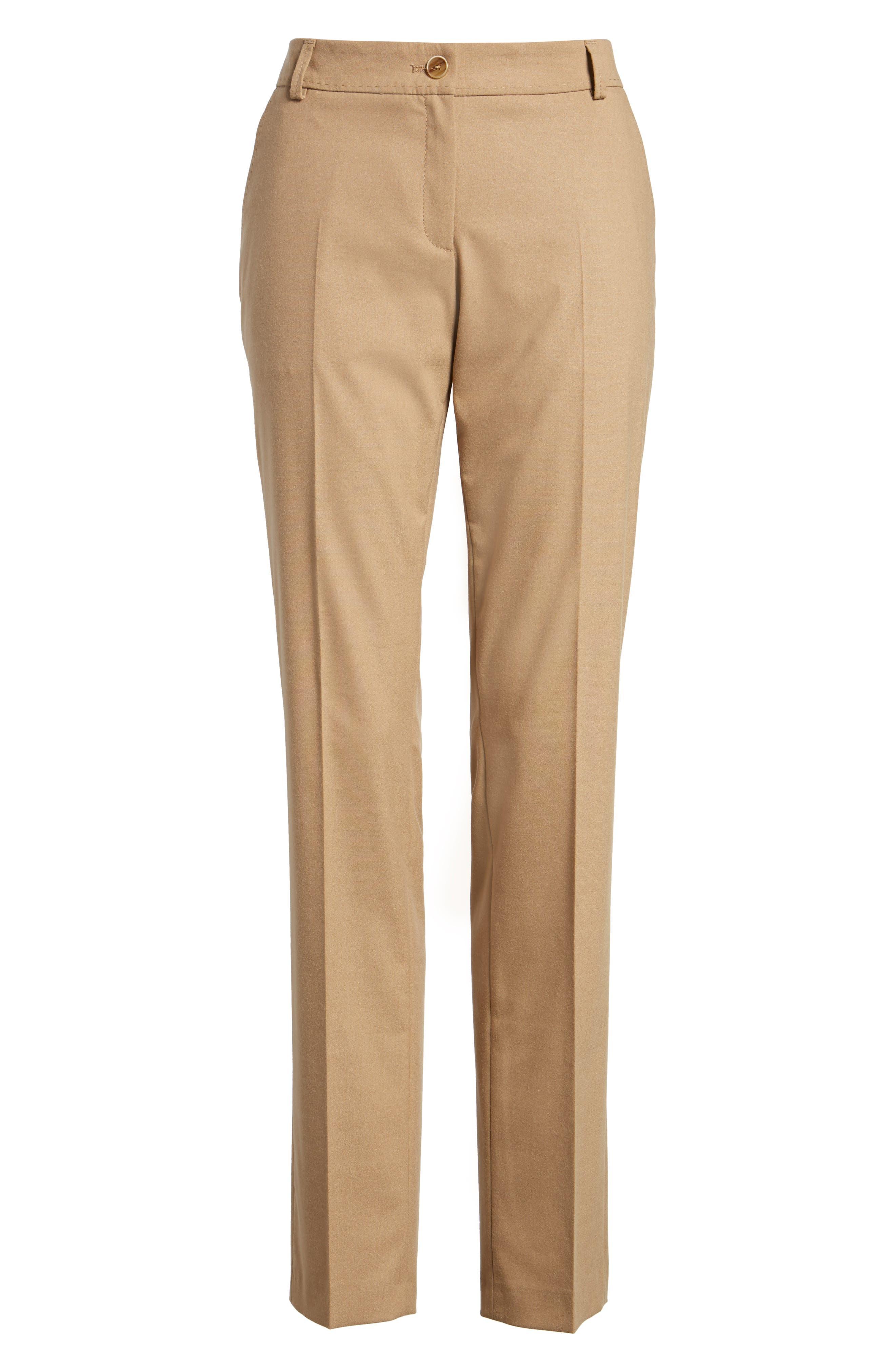 Straight Leg Trousers,                             Alternate thumbnail 6, color,                             Camel
