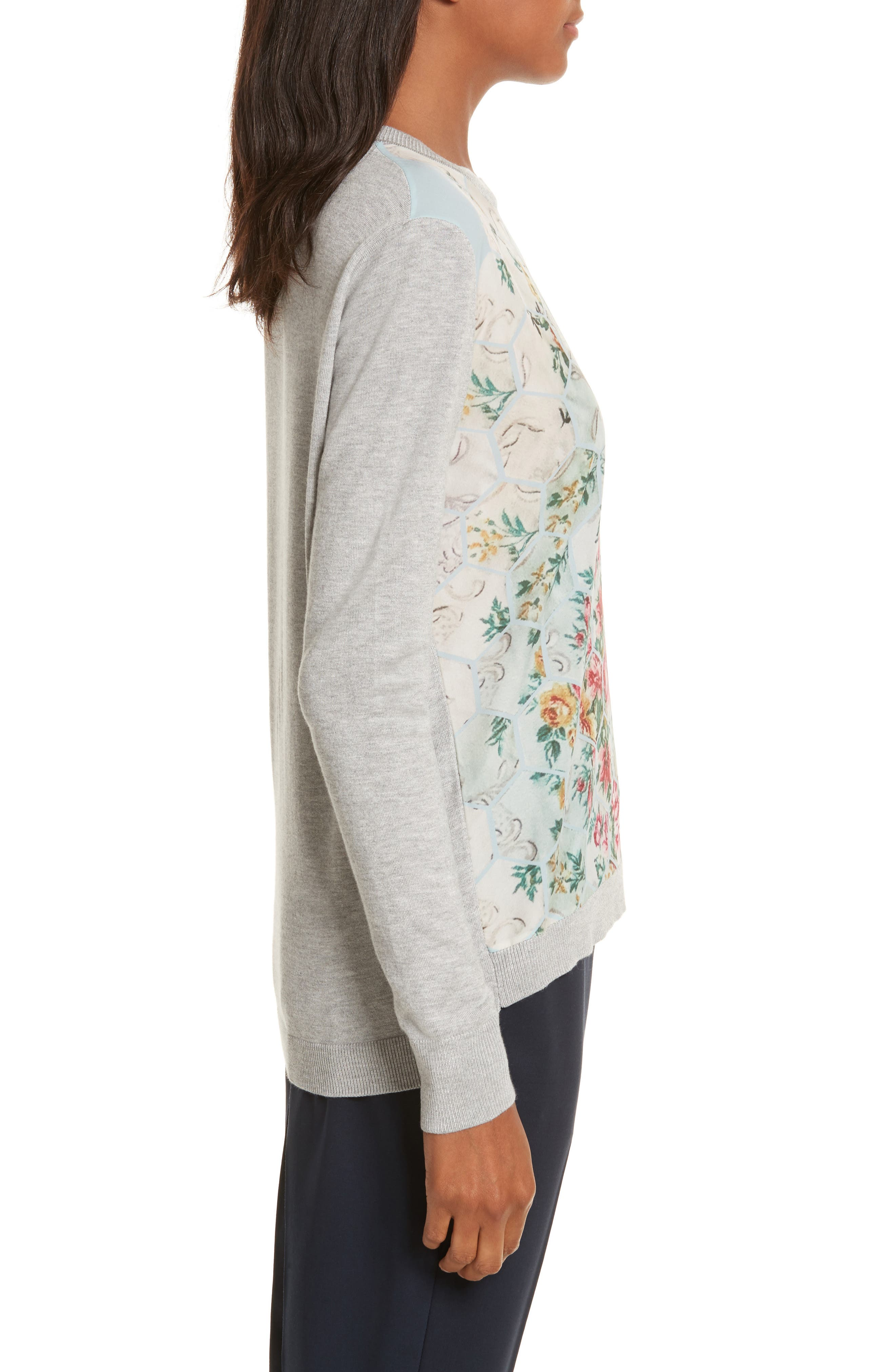 Fareeda Woven Front Patchwork Sweater,                             Alternate thumbnail 3, color,                             Pale Blue