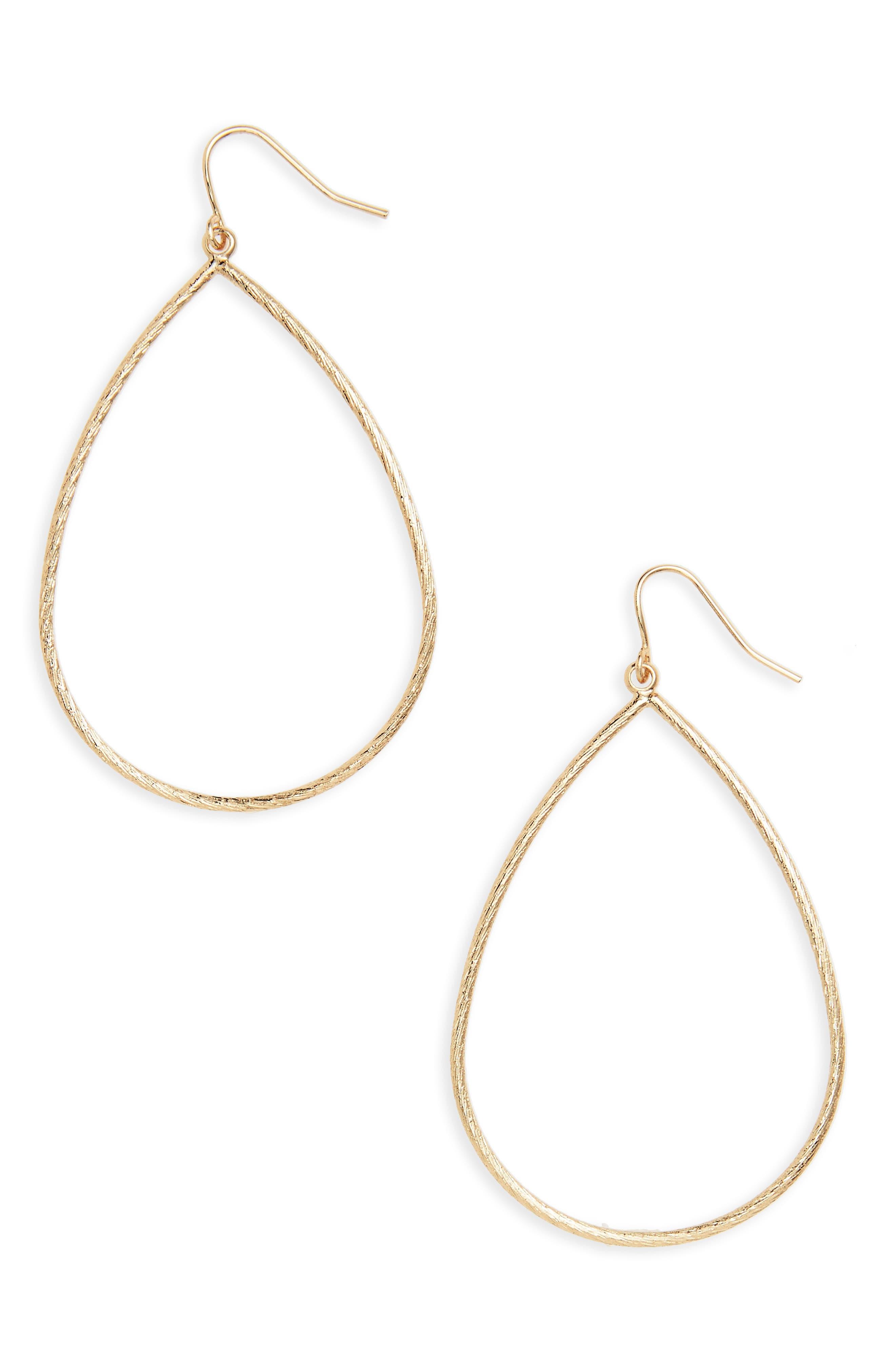 Main Image - Halogen® Large Textured Teardrop Earrings