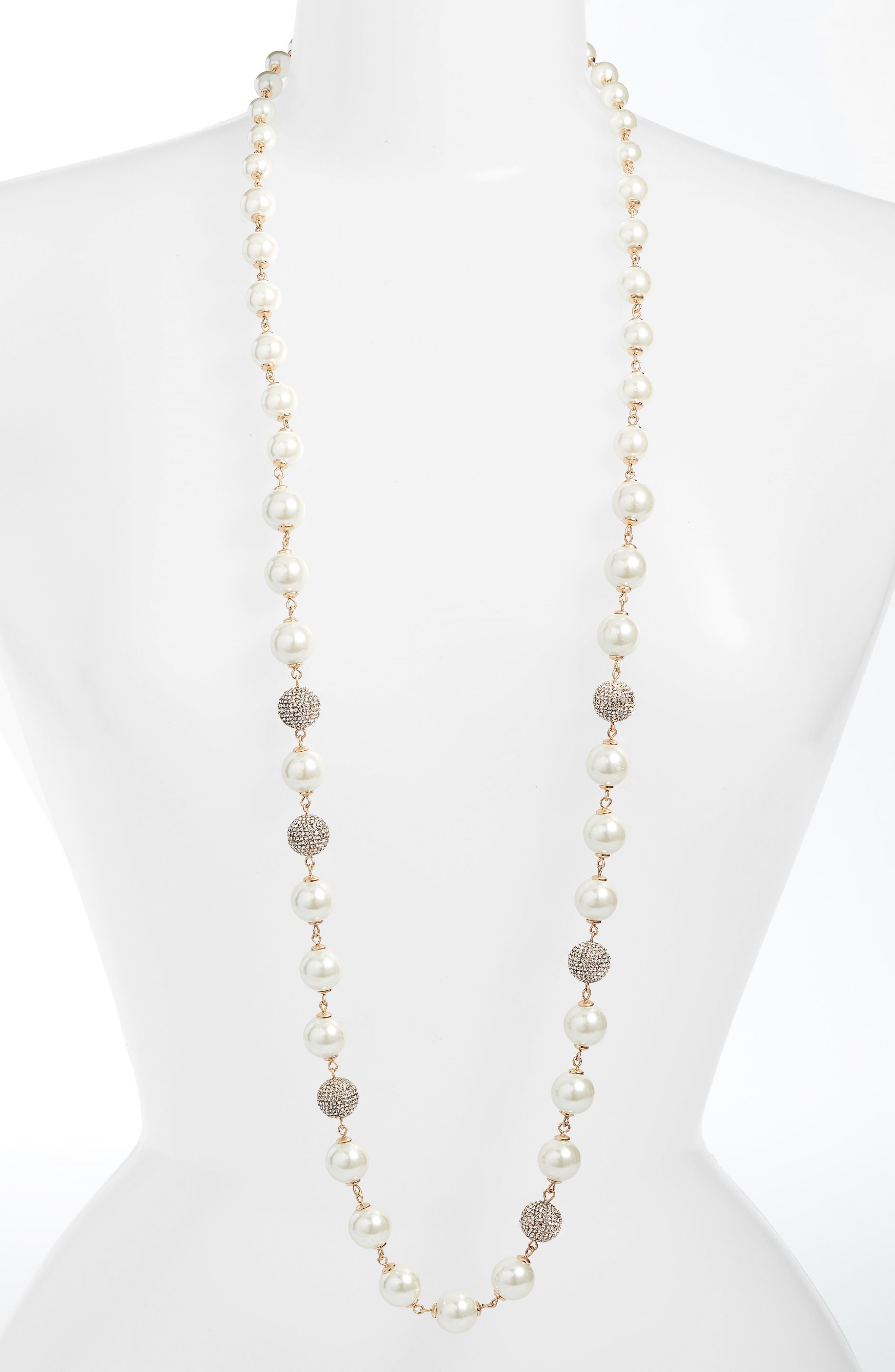 Main Image - Jenny Packham Long Imitation Pearl Necklace