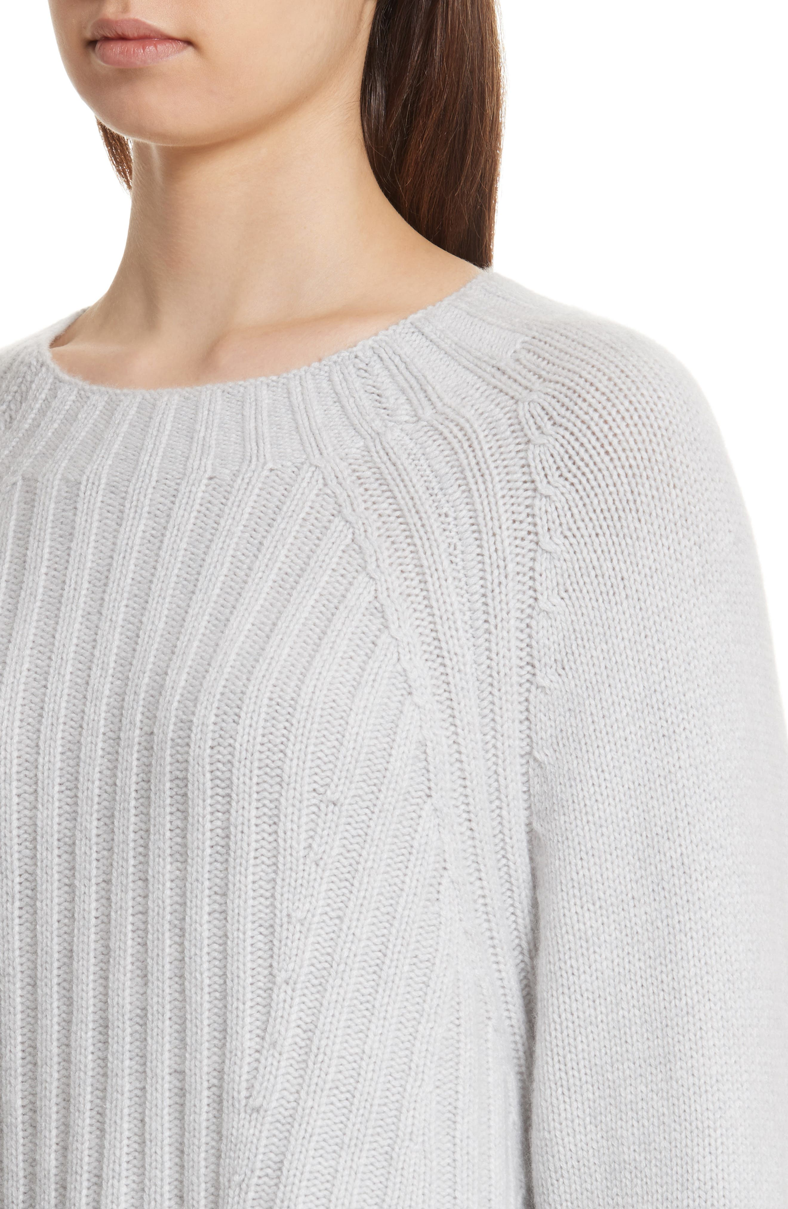 Ribbed Wool & Cashmere Sweater,                             Alternate thumbnail 4, color,                             Light Heather Grey