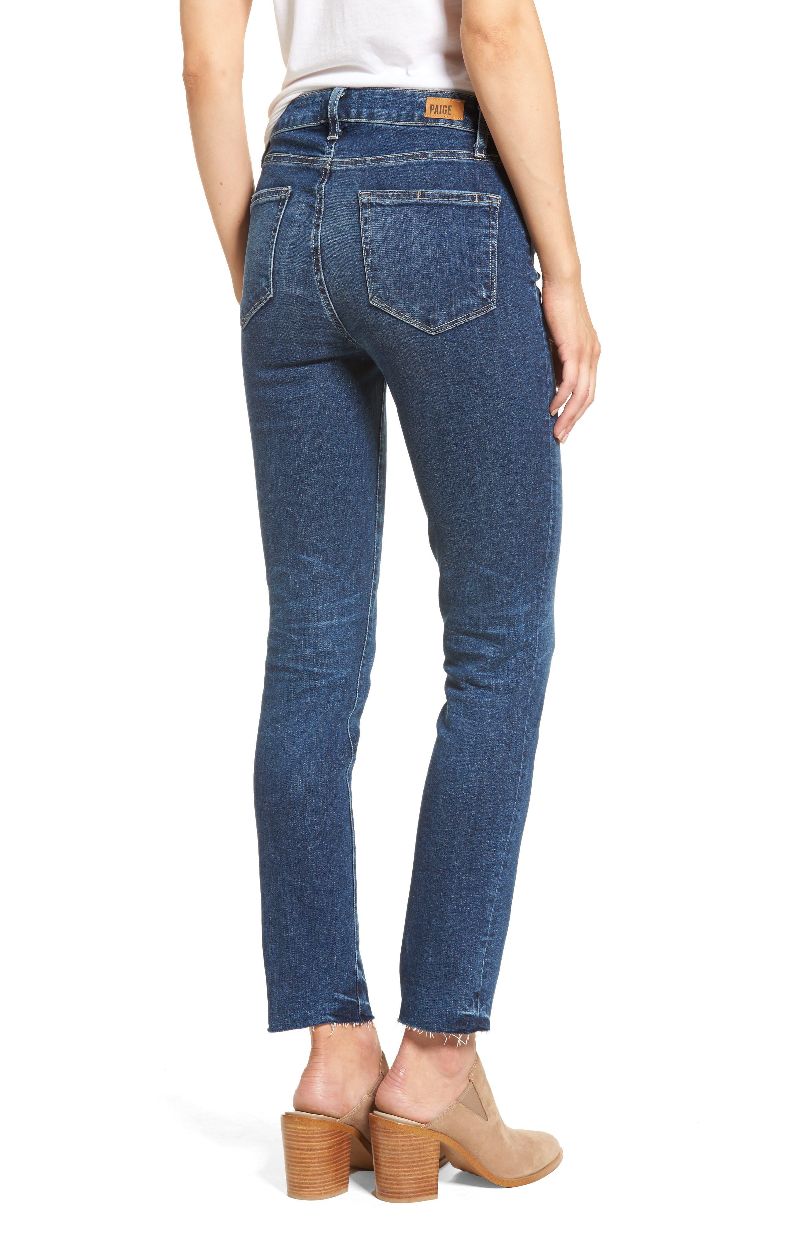 Transcend Vintage - Hoxton High Waist Ankle Peg Jeans,                             Alternate thumbnail 3, color,                             Riviera