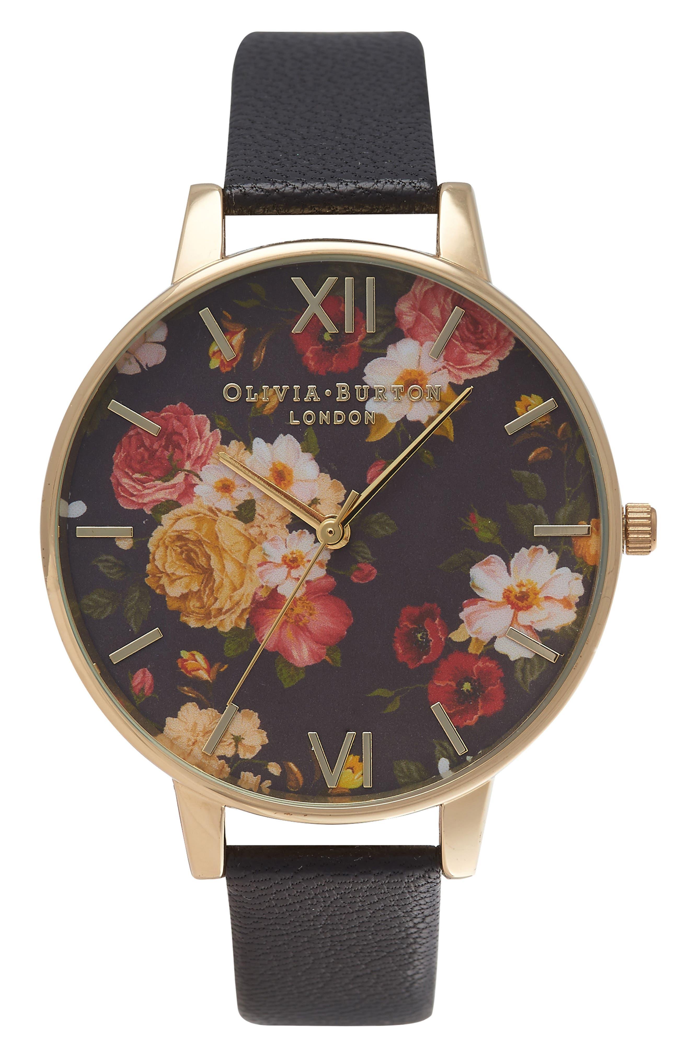 Main Image - Olivia Burton Signature Florals Leather Strap Watch, 38mm