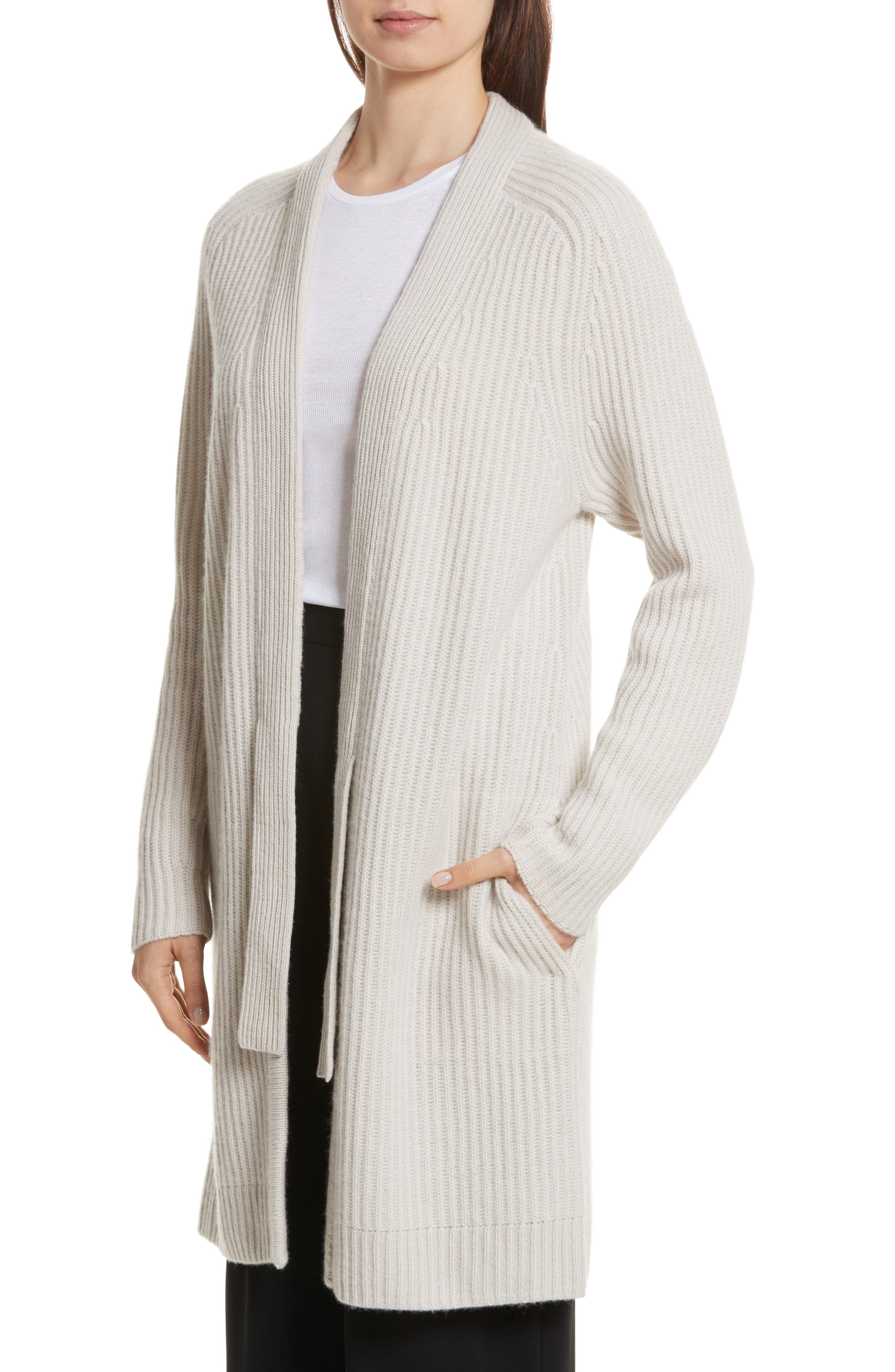 Rib Knit Wool Blend Cardigan,                             Alternate thumbnail 4, color,                             Chalet