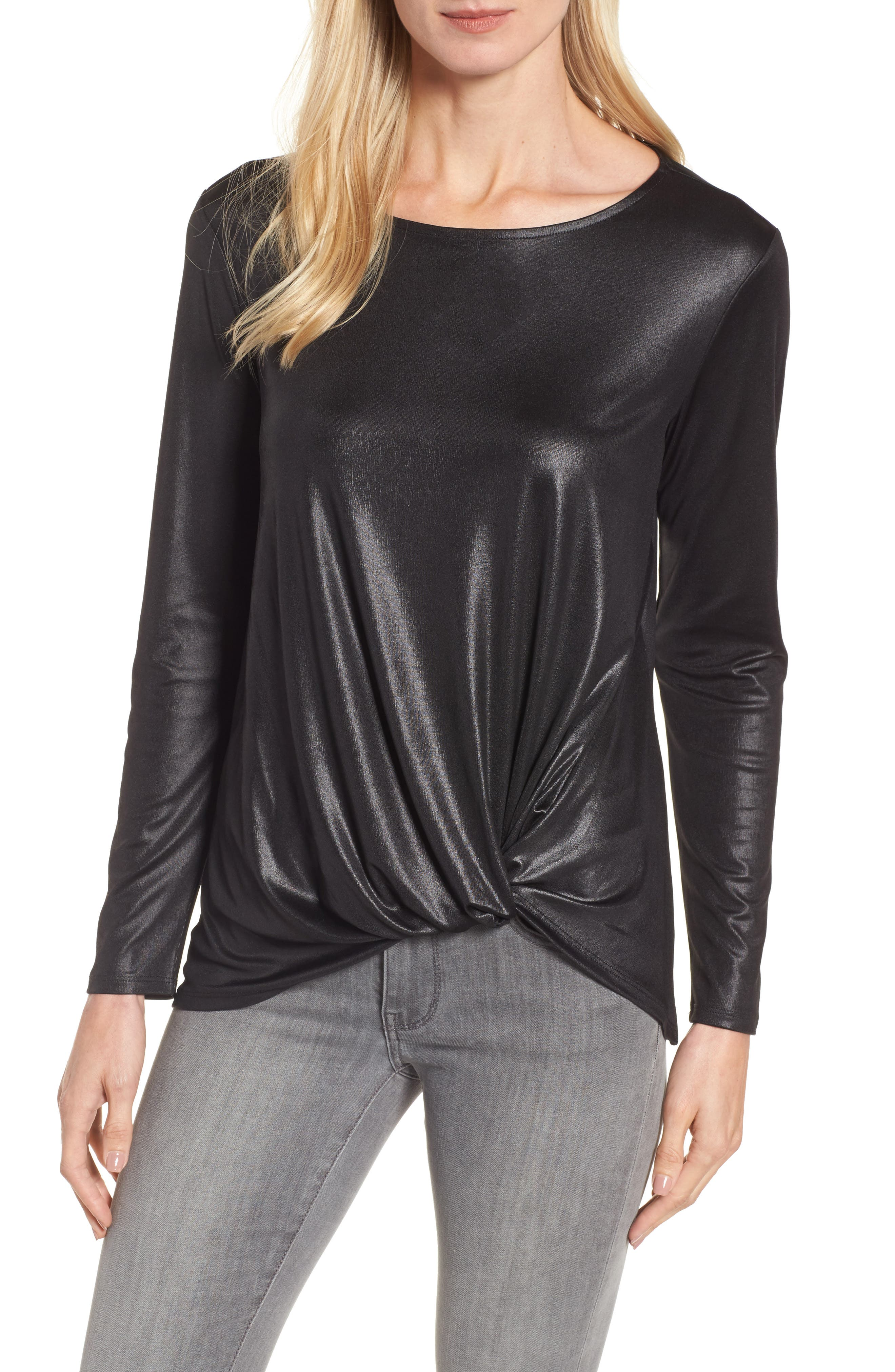 Twist Front Metallic Tee,                             Main thumbnail 1, color,                             Black