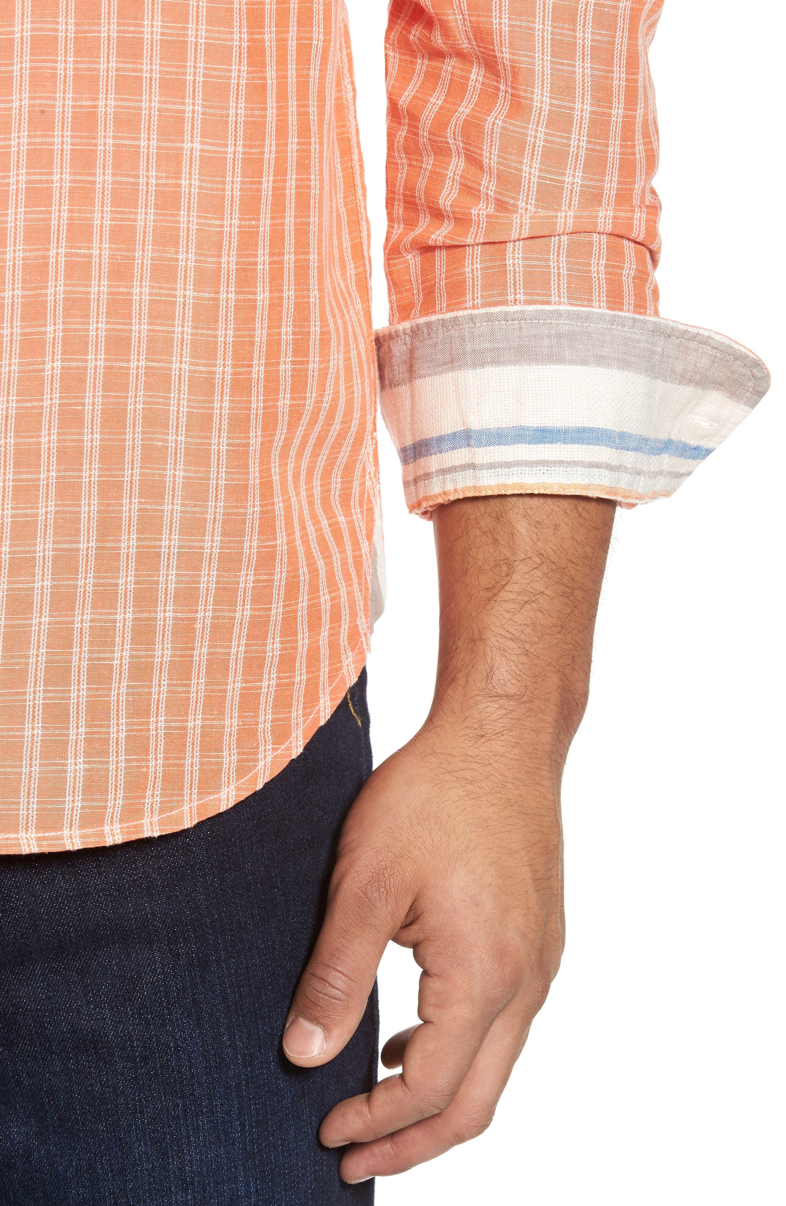 Plaid Sand Linen Blend Sport Shirt,                             Alternate thumbnail 4, color,                             Curuba