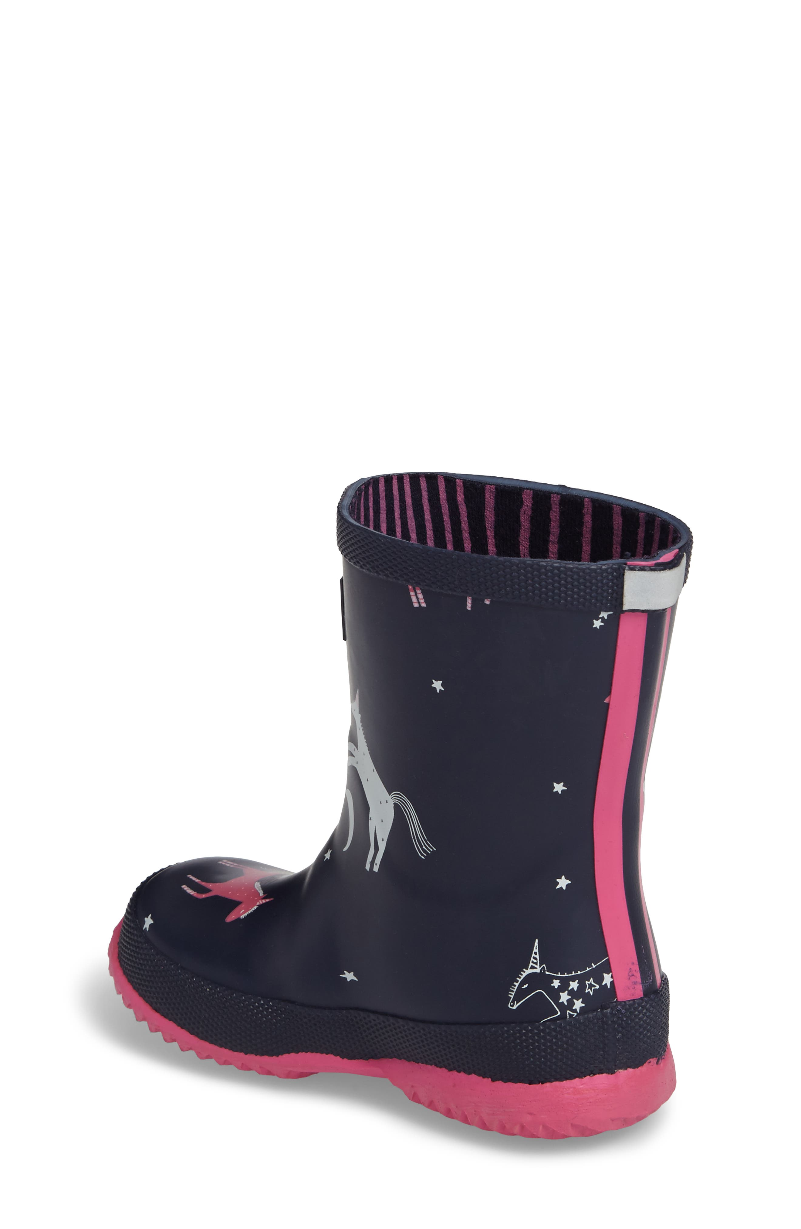 Printed Waterproof Rain Boot,                             Alternate thumbnail 2, color,                             French Navy Unicorns