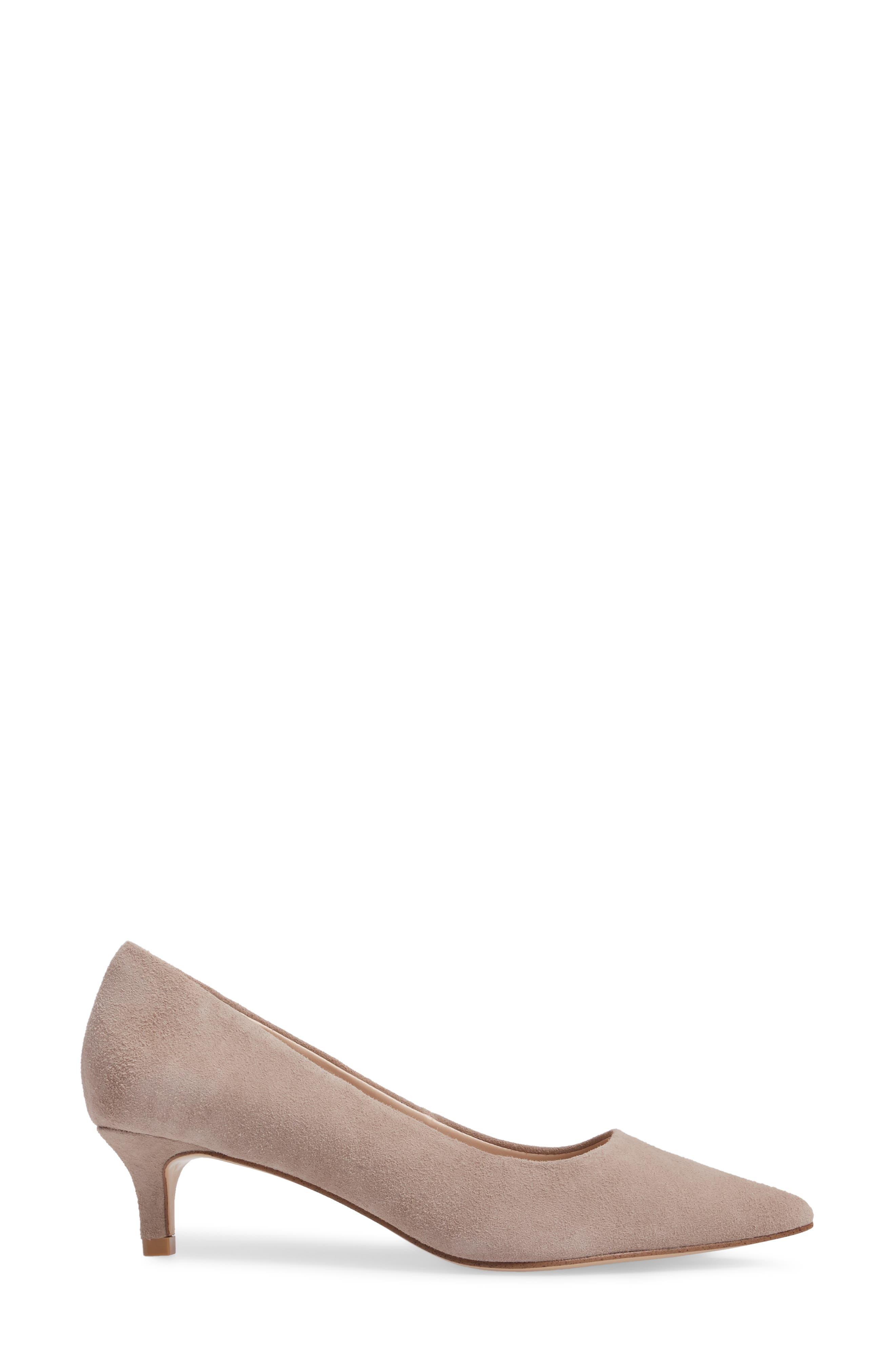 Dena Pointy Toe Pump,                             Alternate thumbnail 3, color,                             Mushroom Leather