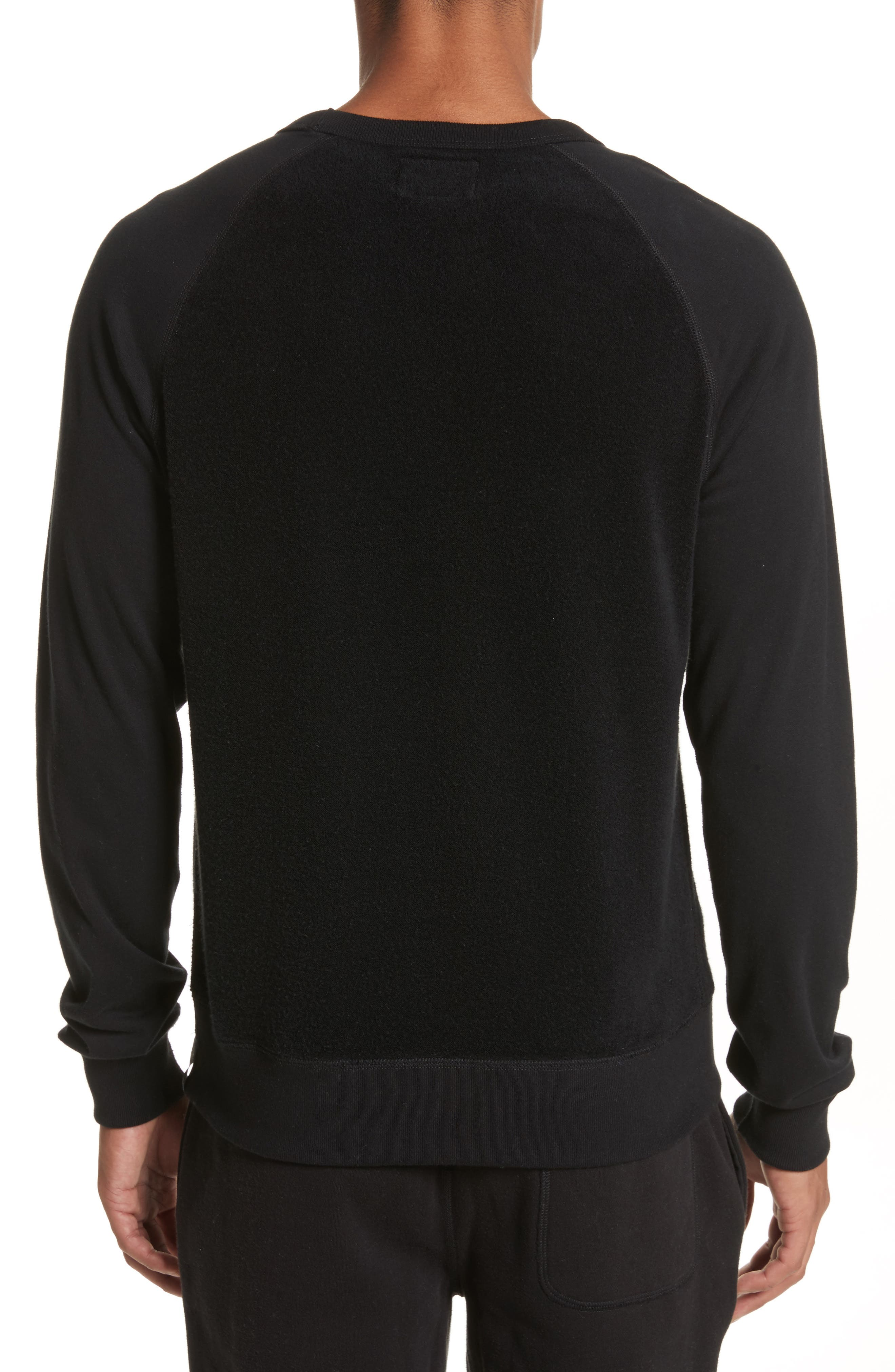 Textured Crewneck Pullover,                             Alternate thumbnail 2, color,                             Black