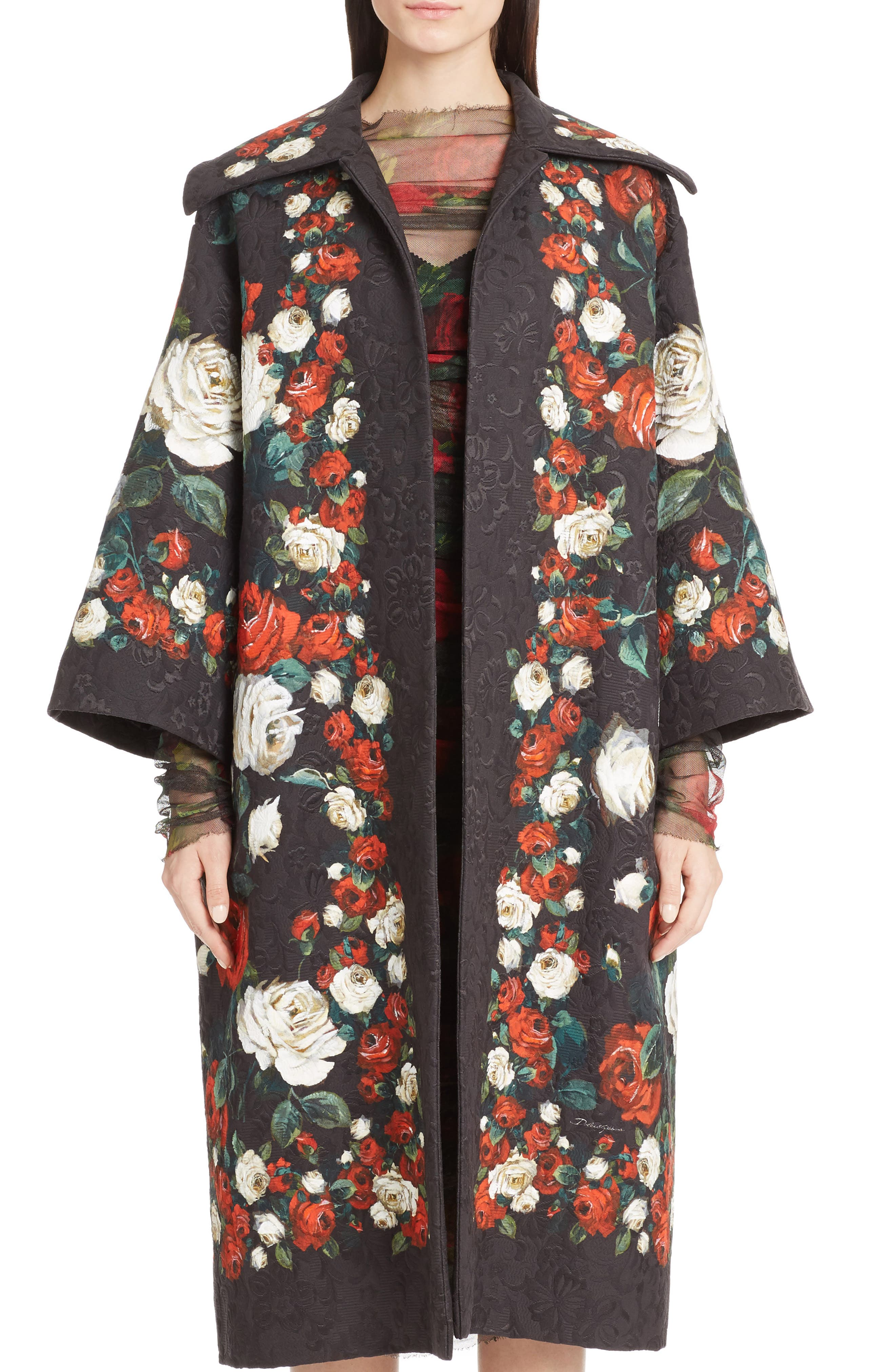 Dolce&Gabbana Rose Print Brocade Coat