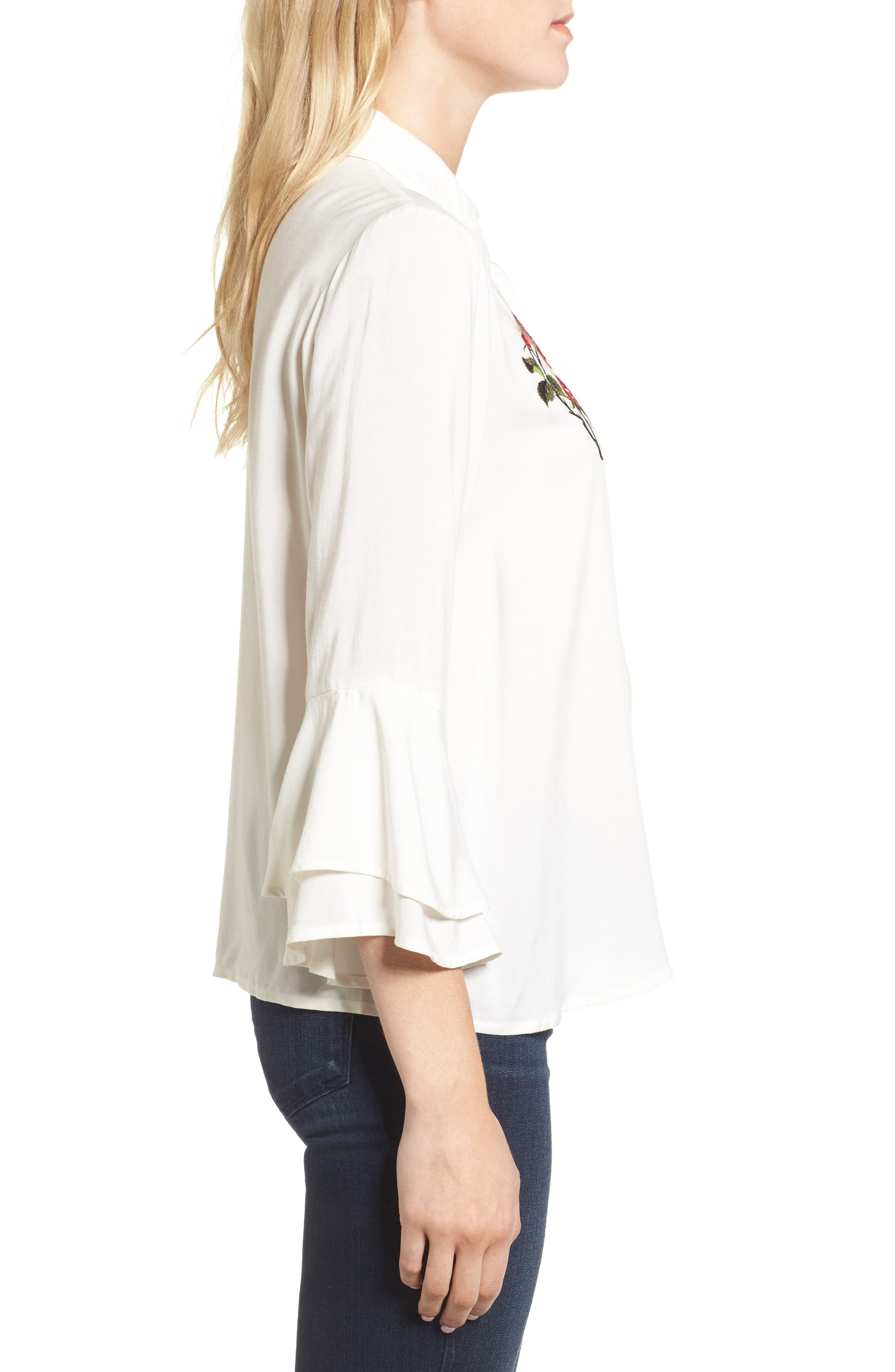 Kymberly Embroidered Blouse,                             Alternate thumbnail 3, color,                             Ivory