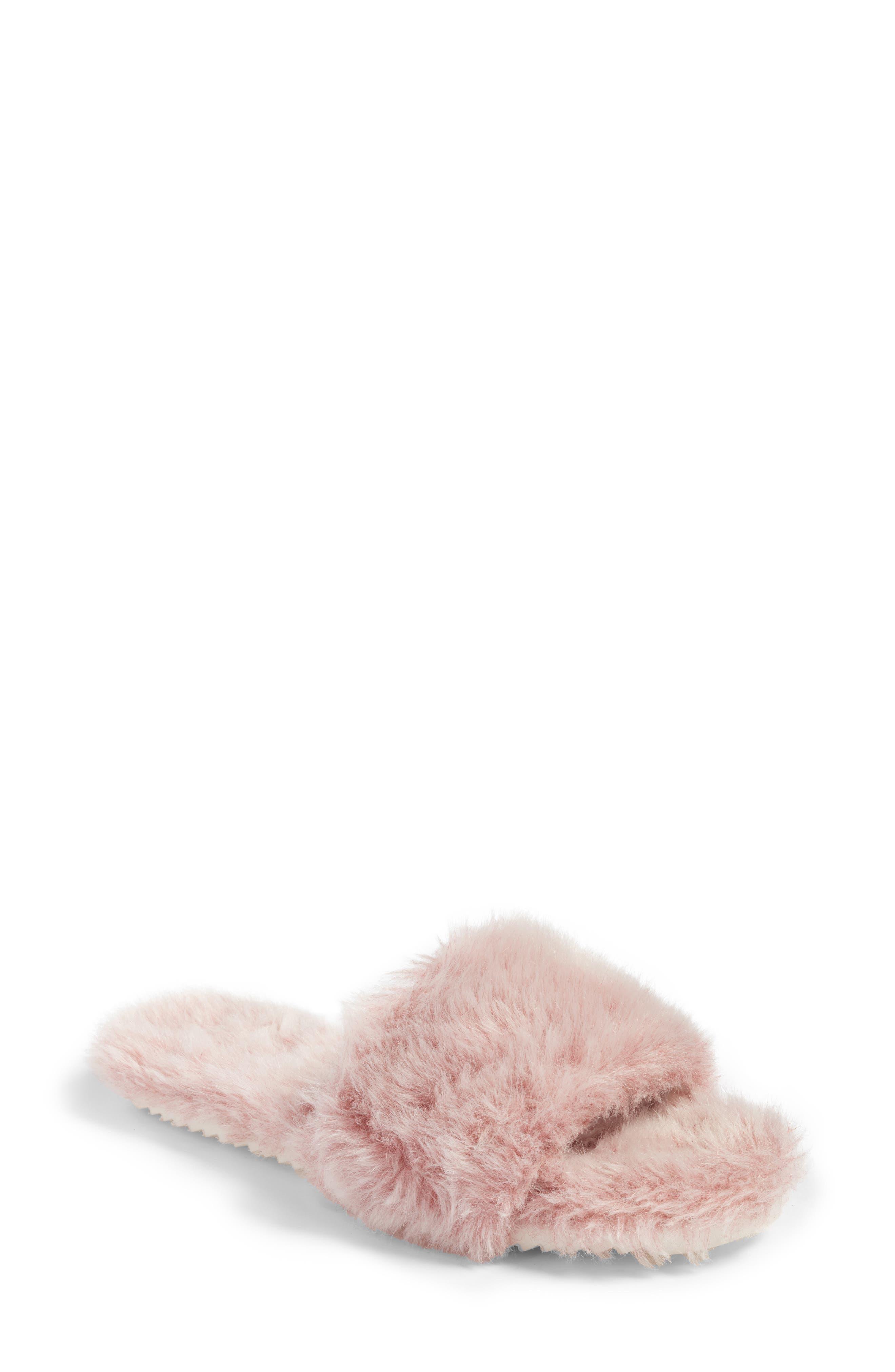 Faux Fur Slide Sandal,                         Main,                         color, Pink