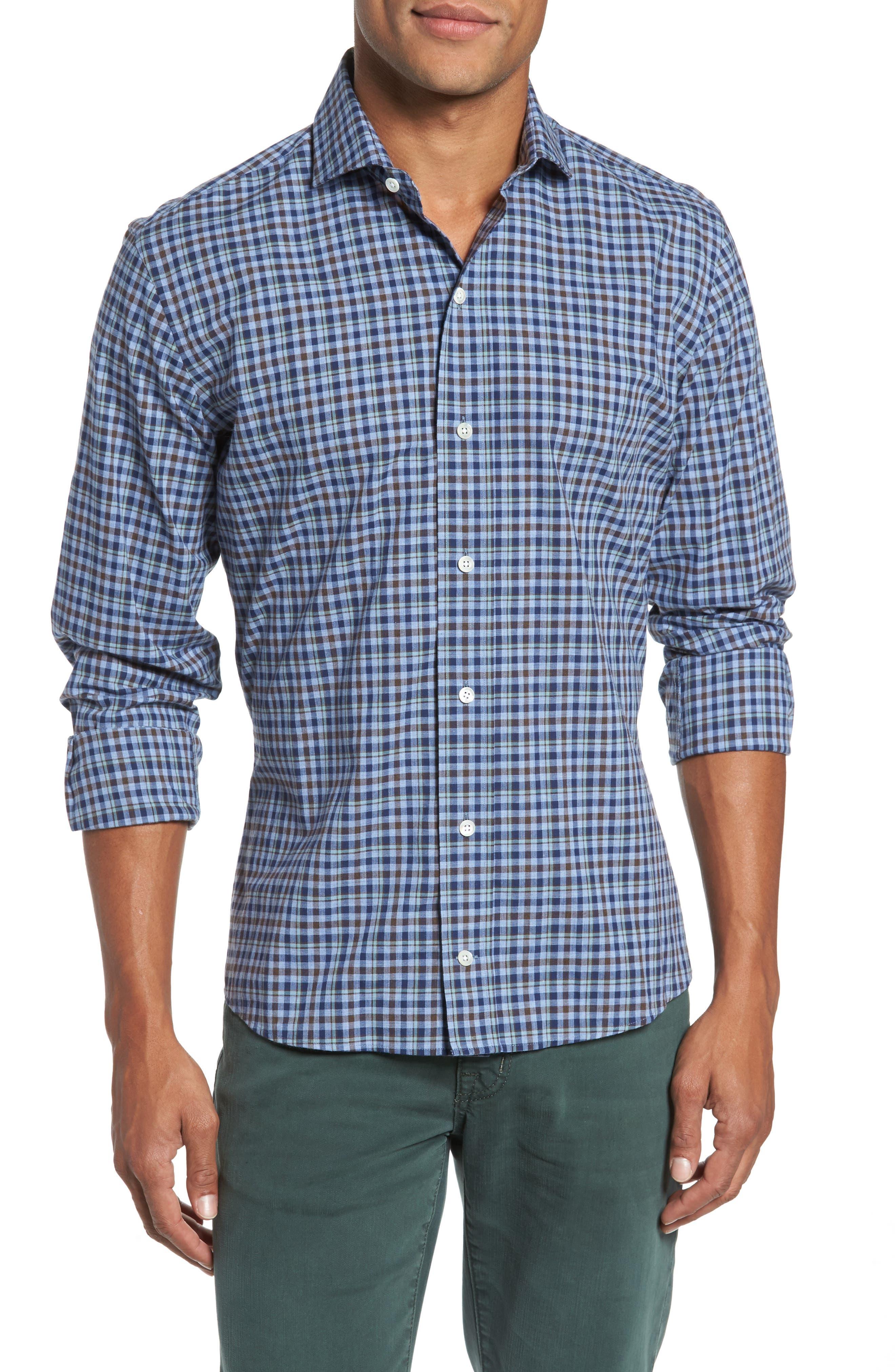 Alden Slim Fit Plaid Sport Shirt,                             Main thumbnail 1, color,                             Blue
