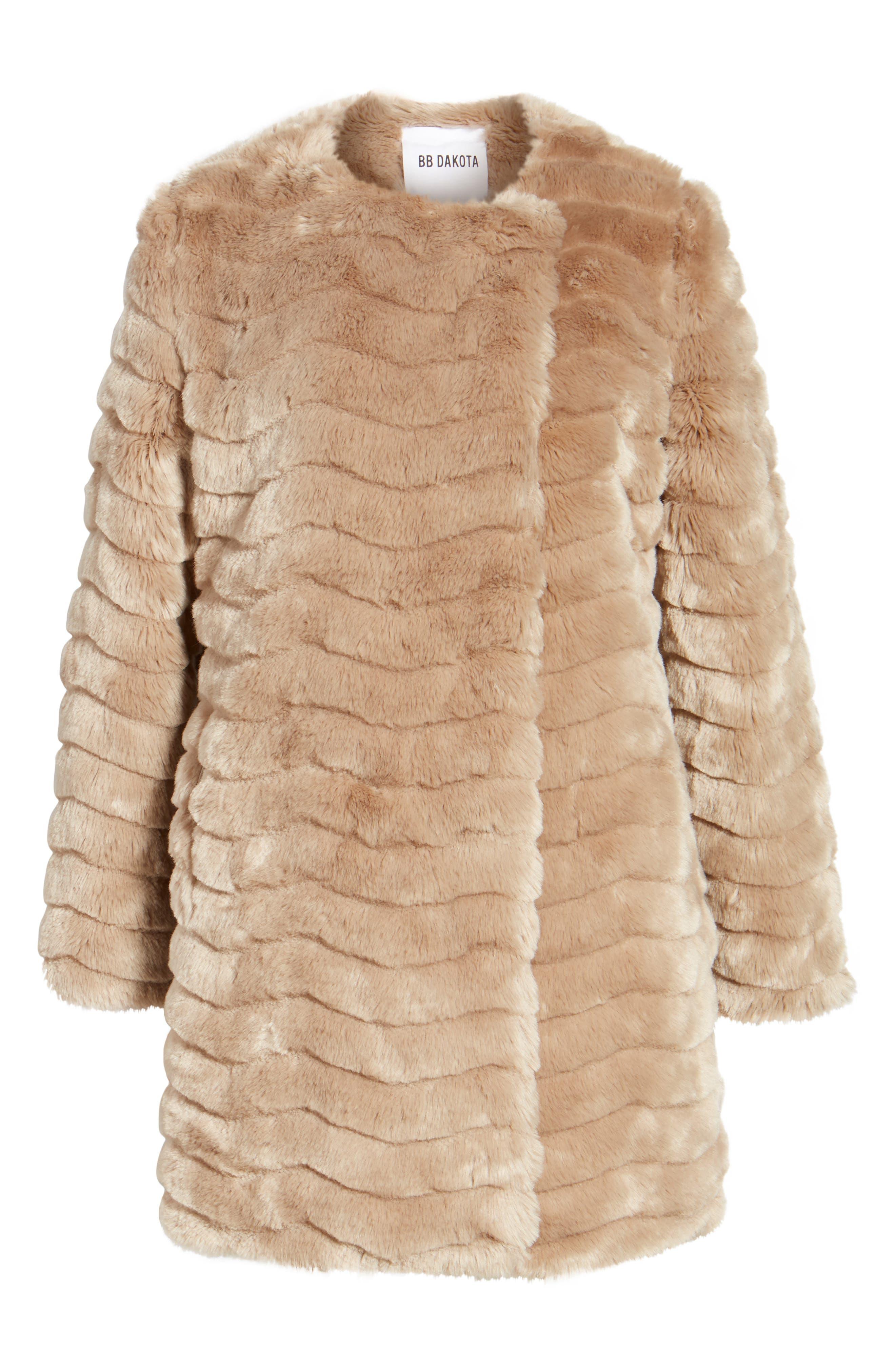McCoy Faux Fur Coat,                             Alternate thumbnail 6, color,                             Camel