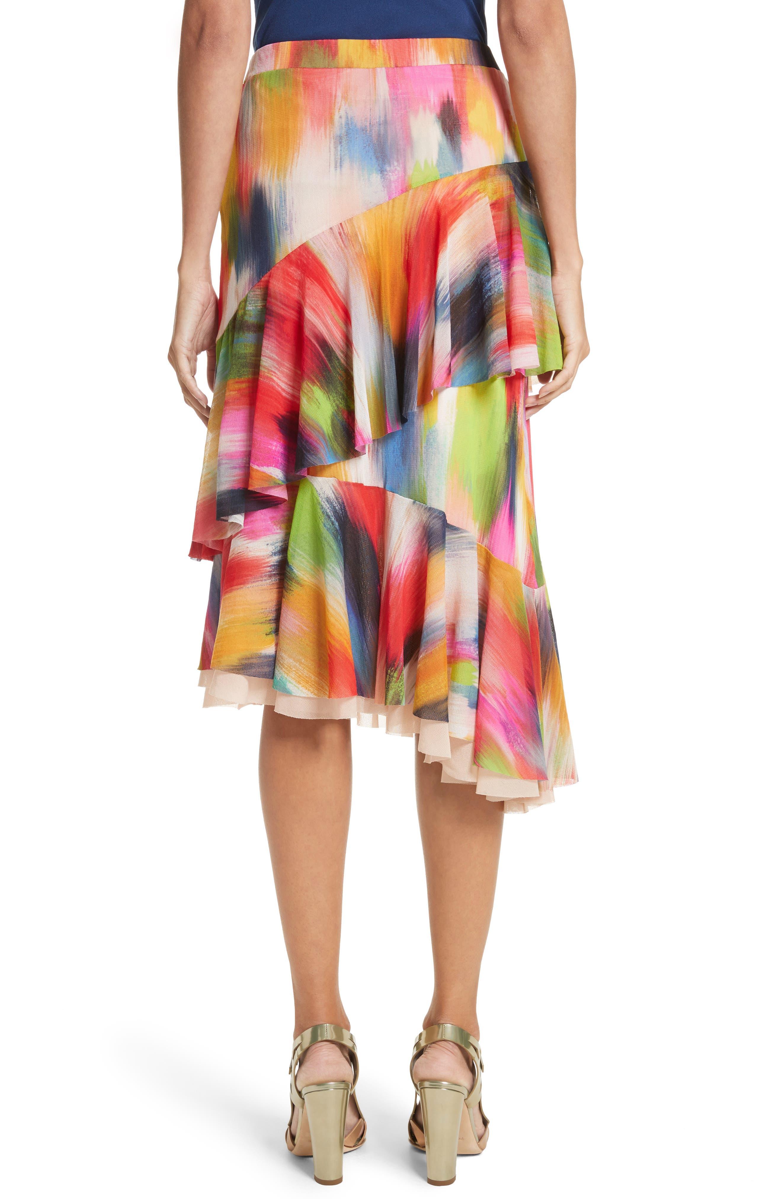 Alternate Image 2  - Fuzzi Ruffle Print Tulle Midi Skirt