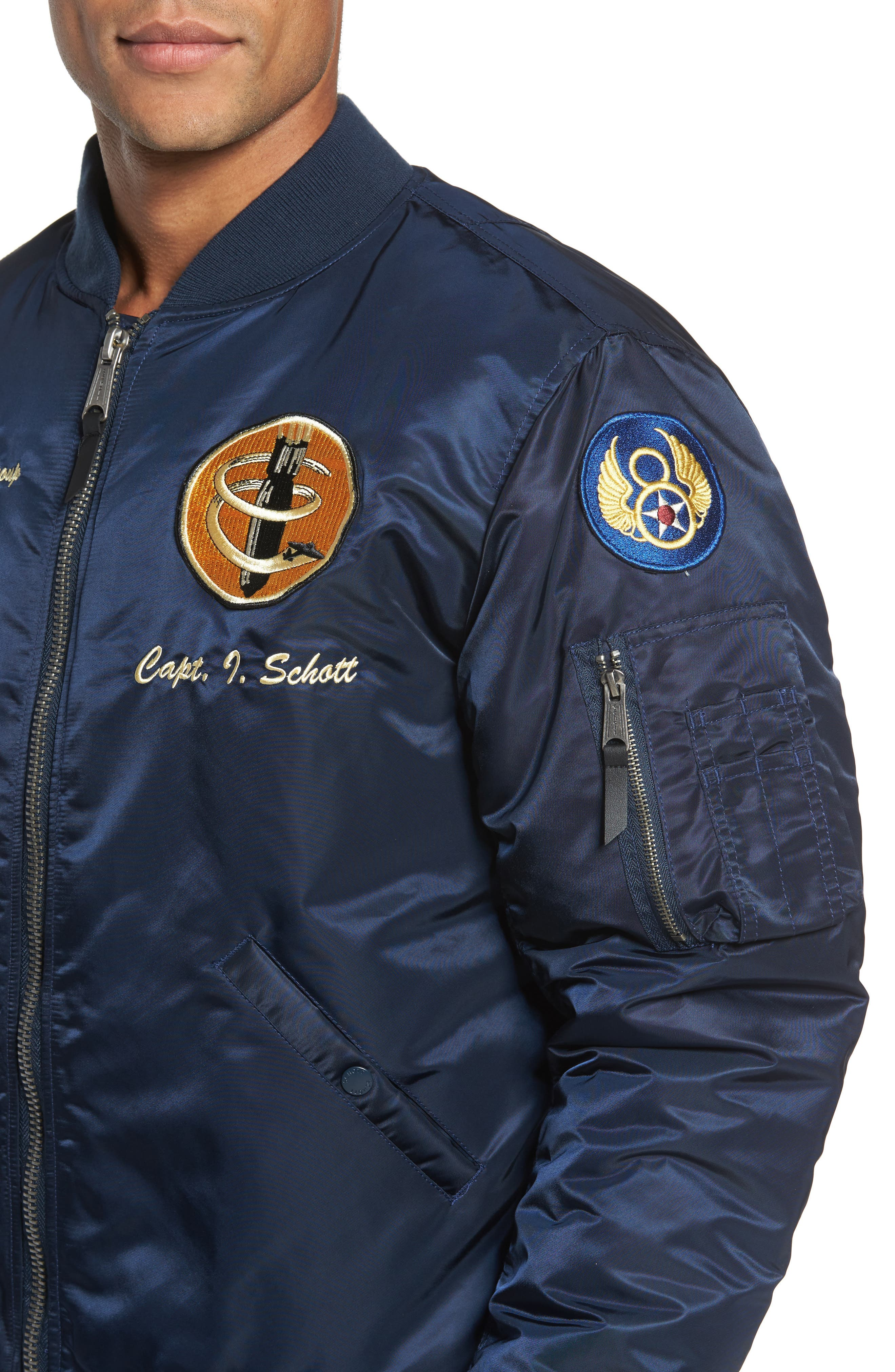 Alternate Image 4  - Schott NYC Highly Decorated Embroidered Flight Jacket