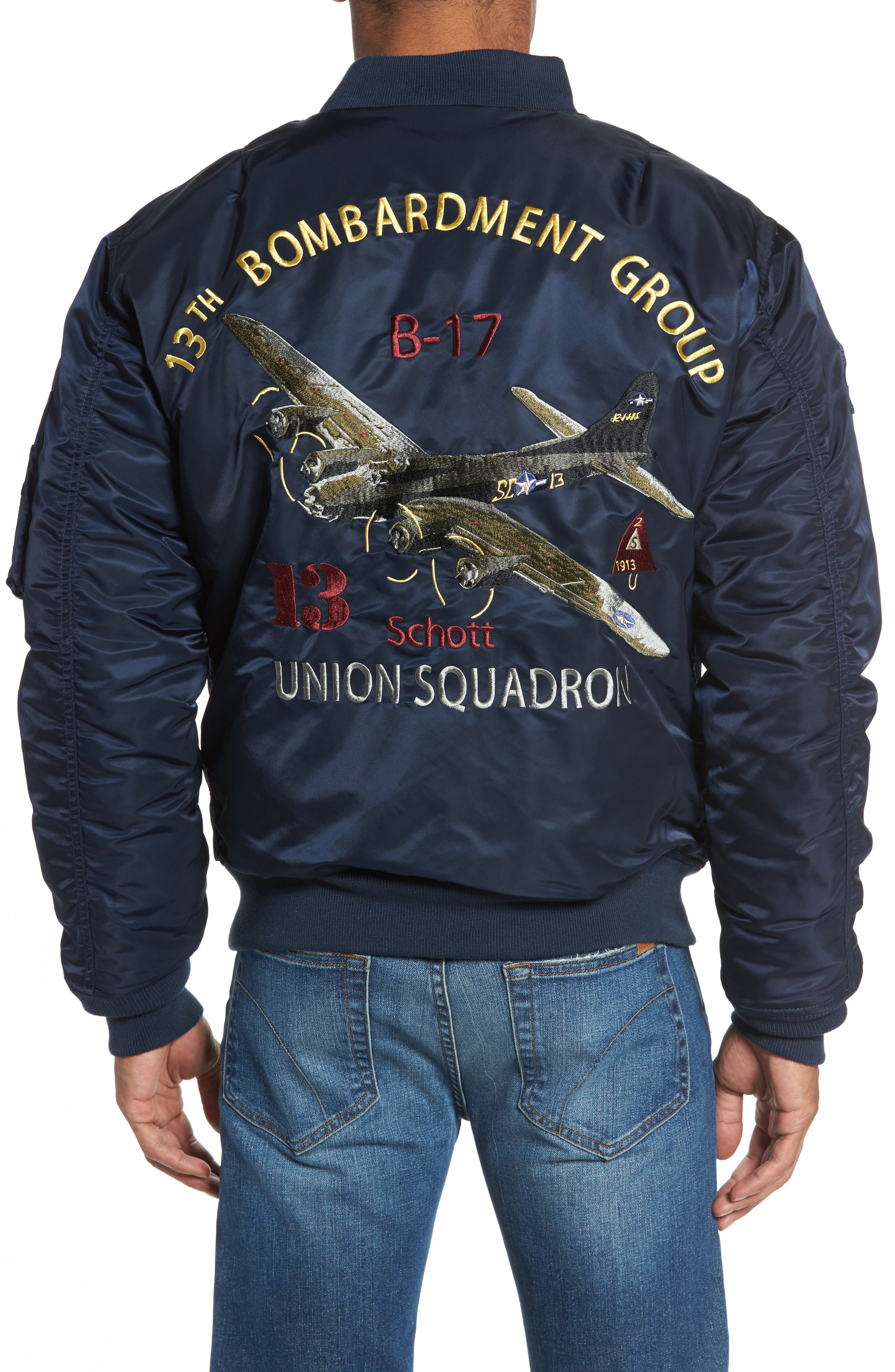 Alternate Image 2  - Schott NYC Highly Decorated Embroidered Flight Jacket