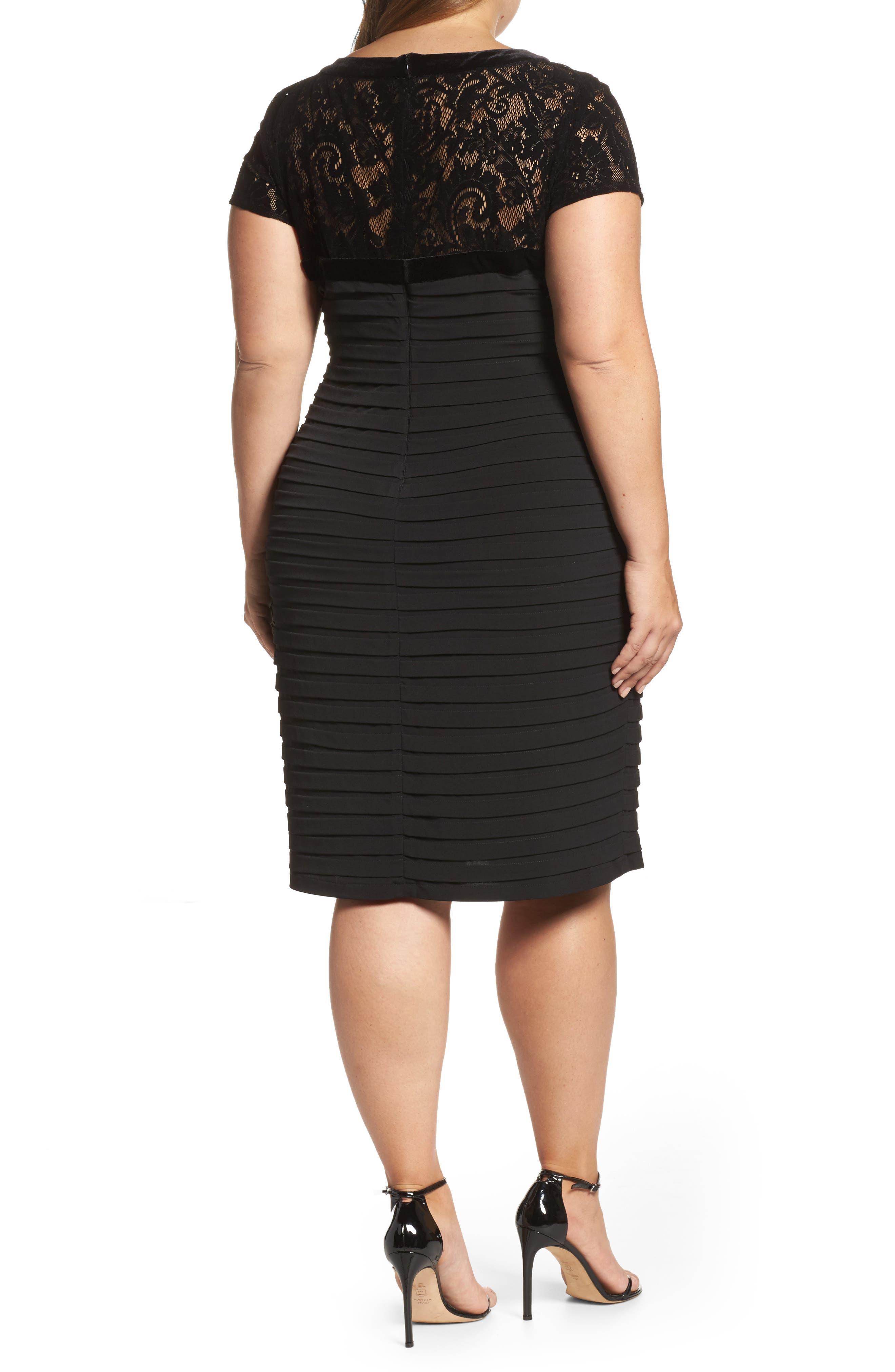 Velvet Trim Sheath Dress,                             Alternate thumbnail 2, color,                             Black