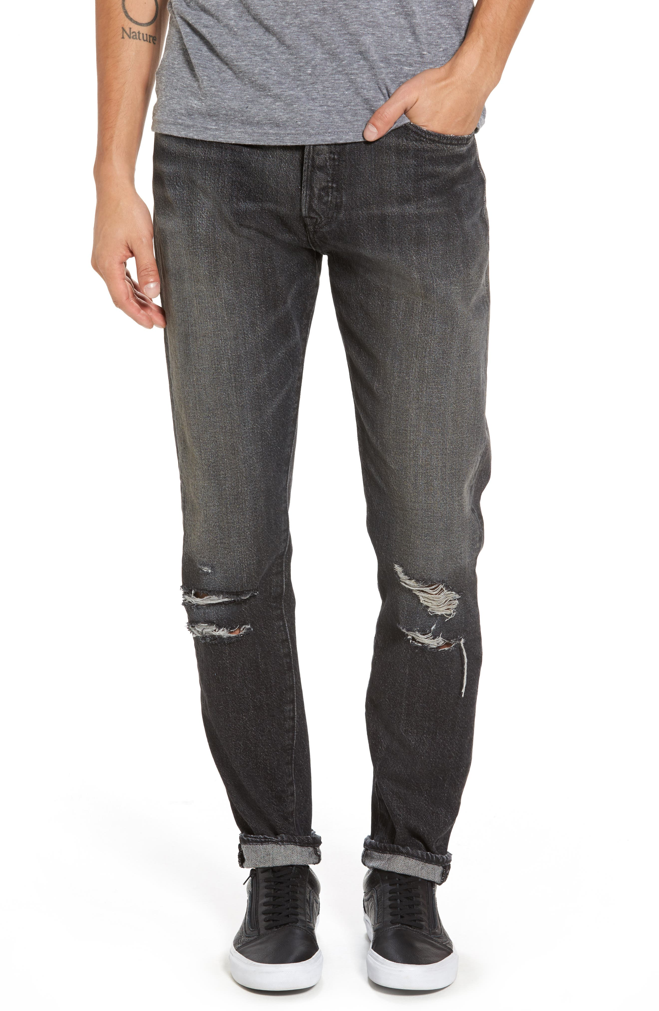 Alternate Image 1 Selected - Levi's® 501™ Slouchy Tapered Slim Fit Jeans (Black Moor)