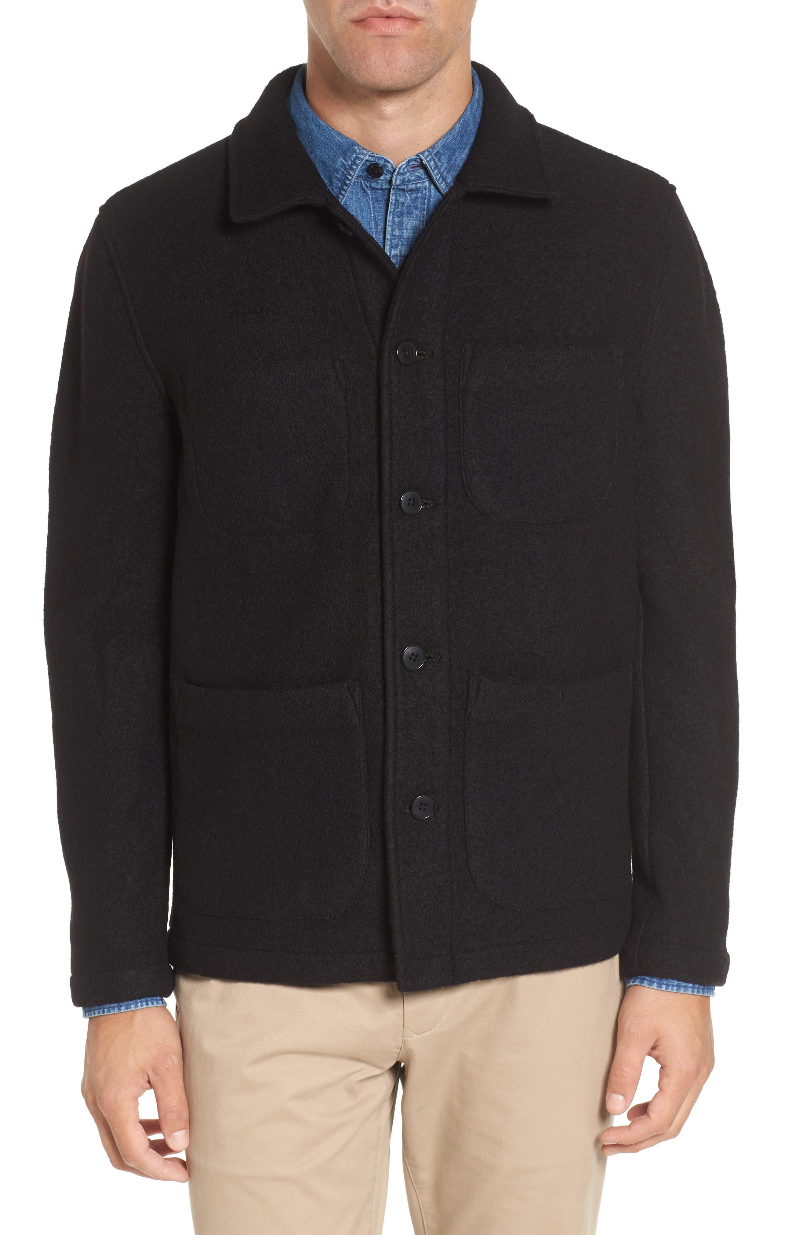 The Wool Bouclé Bomber Jacket,                         Main,                         color, Black