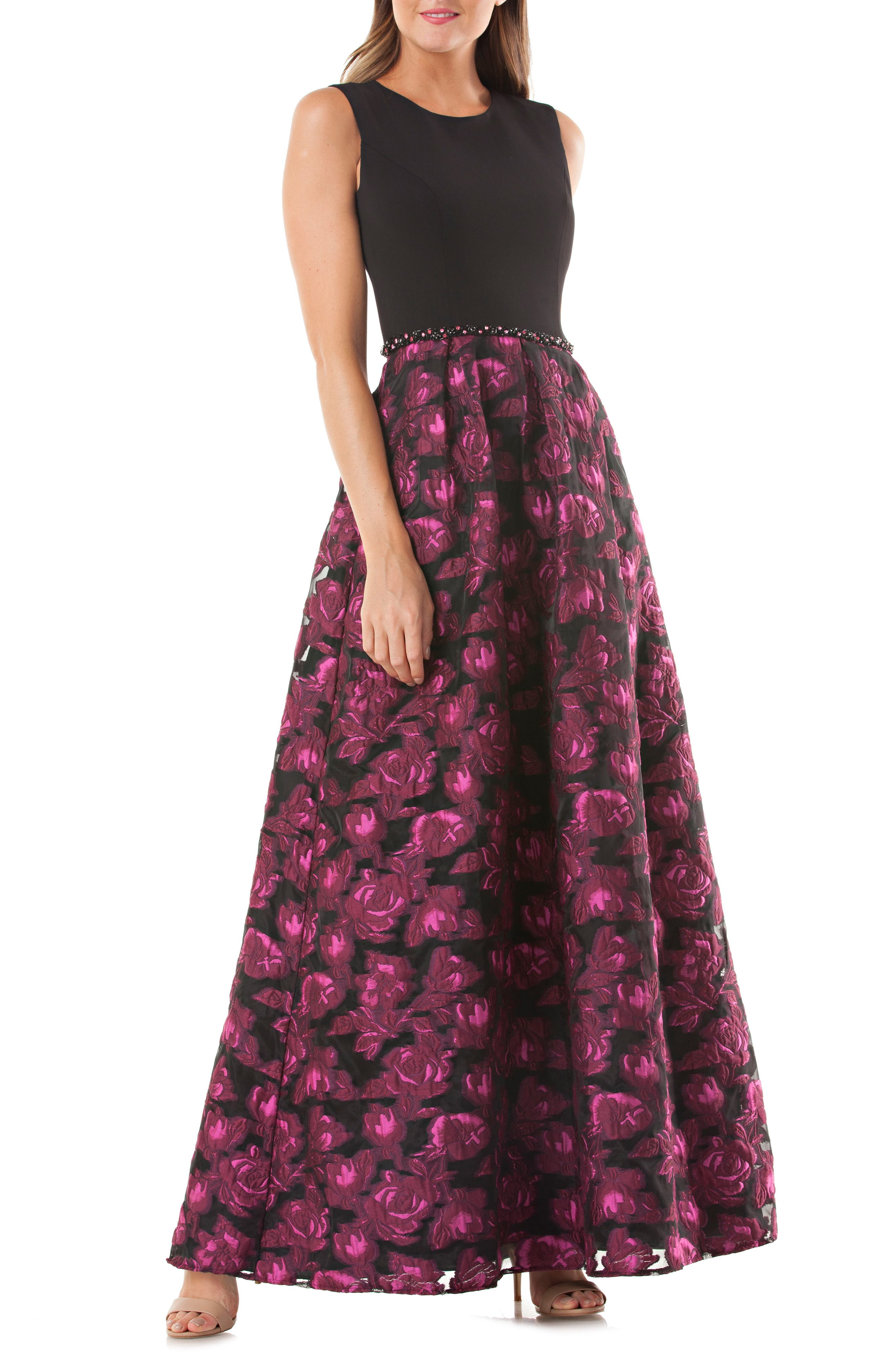 Carmen Marc Valvo Embellished Crepe & Brocade Gown,                             Main thumbnail 1, color,                             Black/ Fuchsia