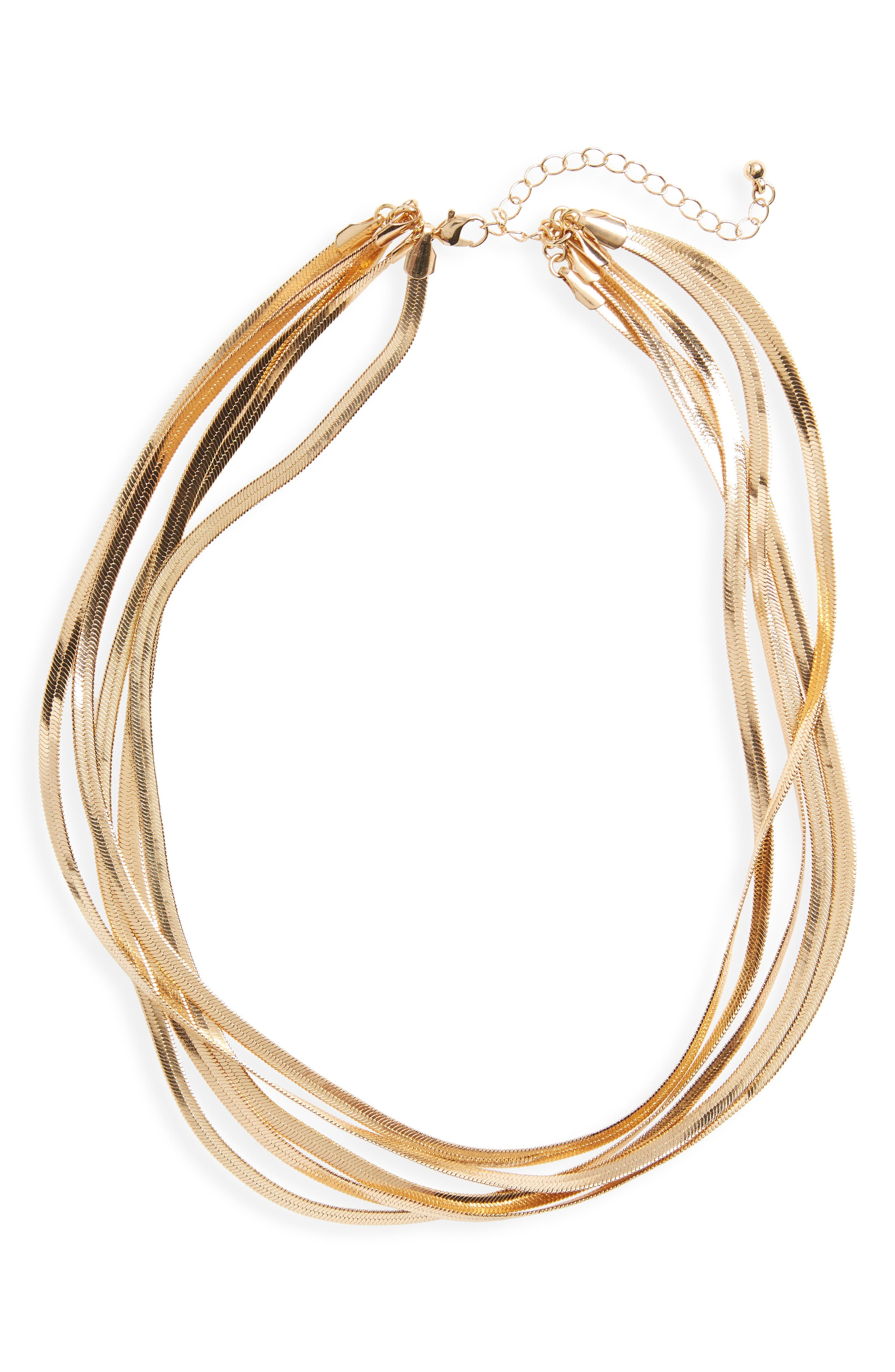 Layered Snake Chain Necklace,                             Main thumbnail 1, color,                             Gold