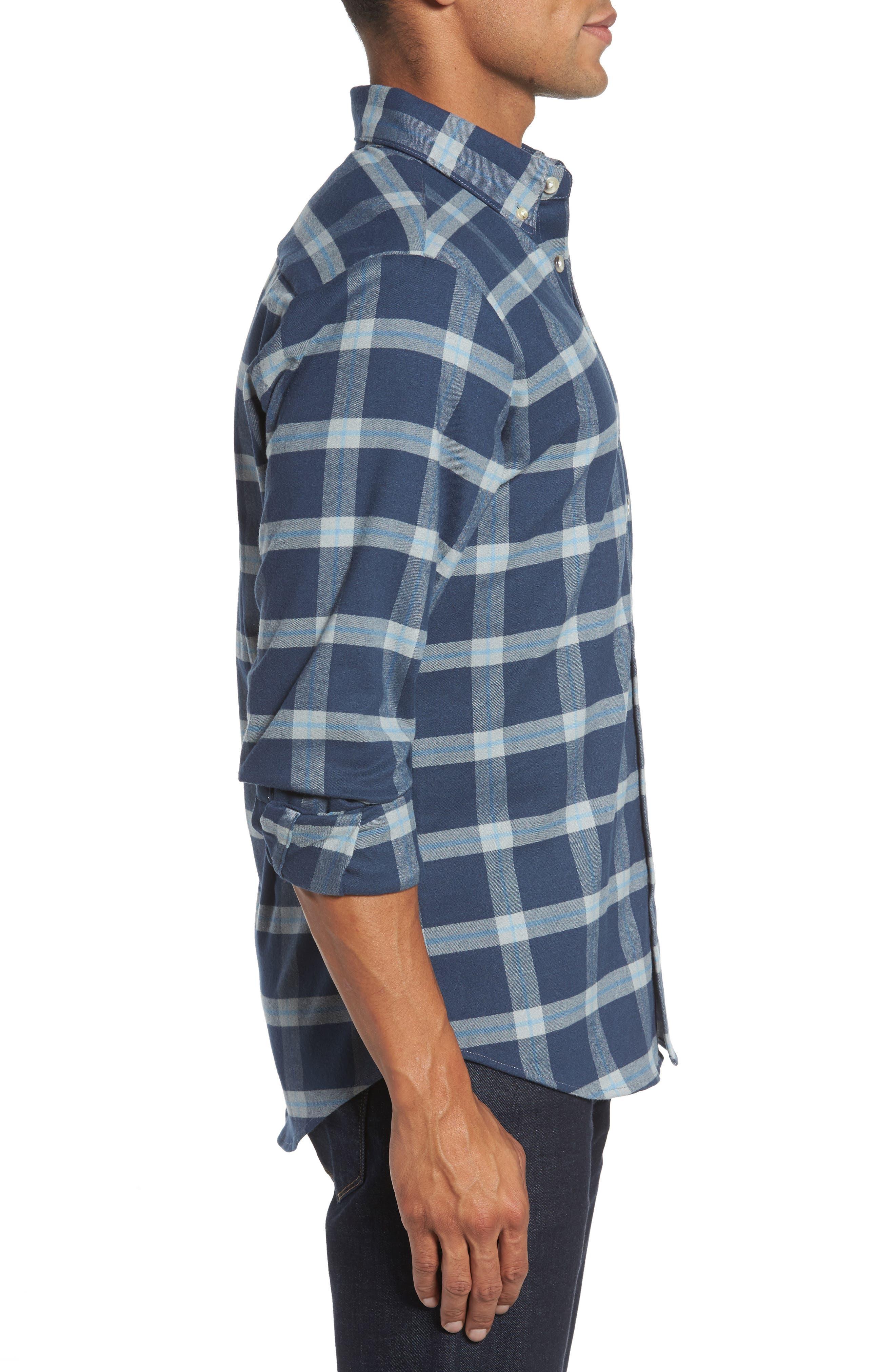 Fairview Slim Fit Plaid Flannel Sport Shirt,                             Alternate thumbnail 3, color,                             Blue