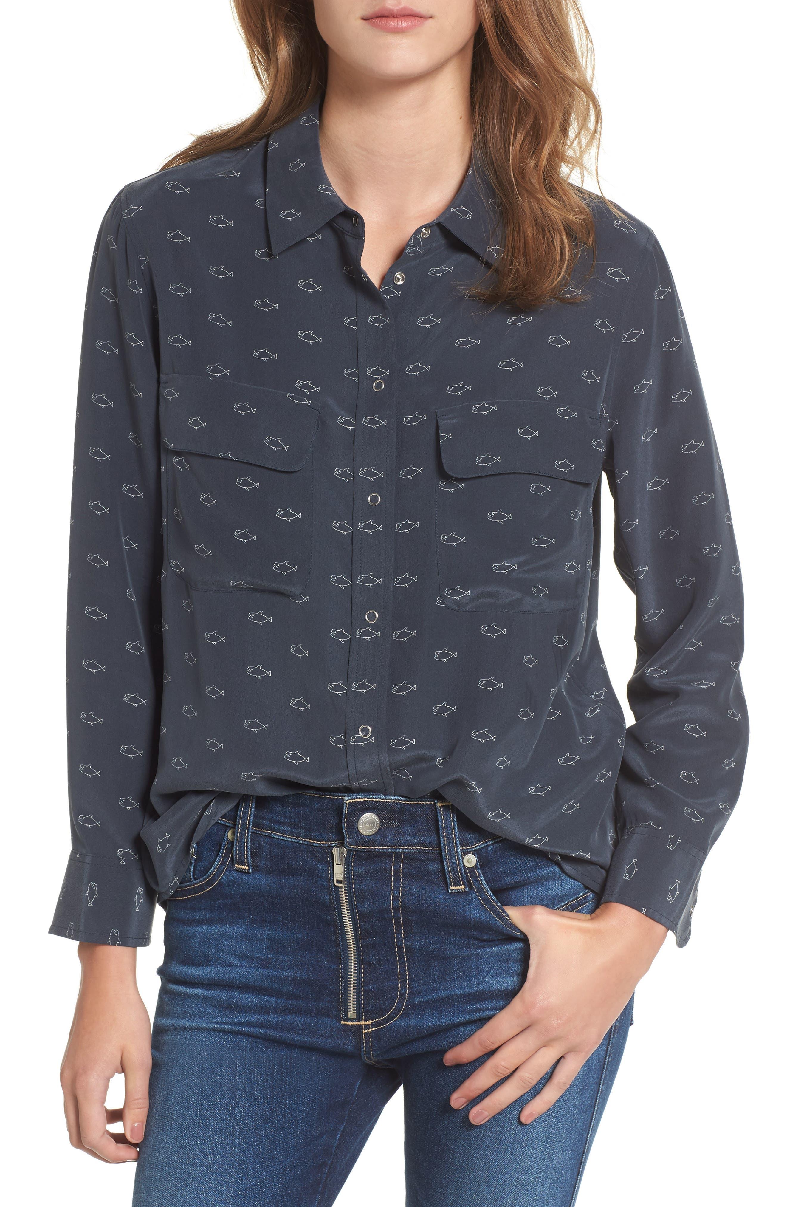 Alena Silk Shirt,                         Main,                         color, Midnight Shadow/ Moon Glade