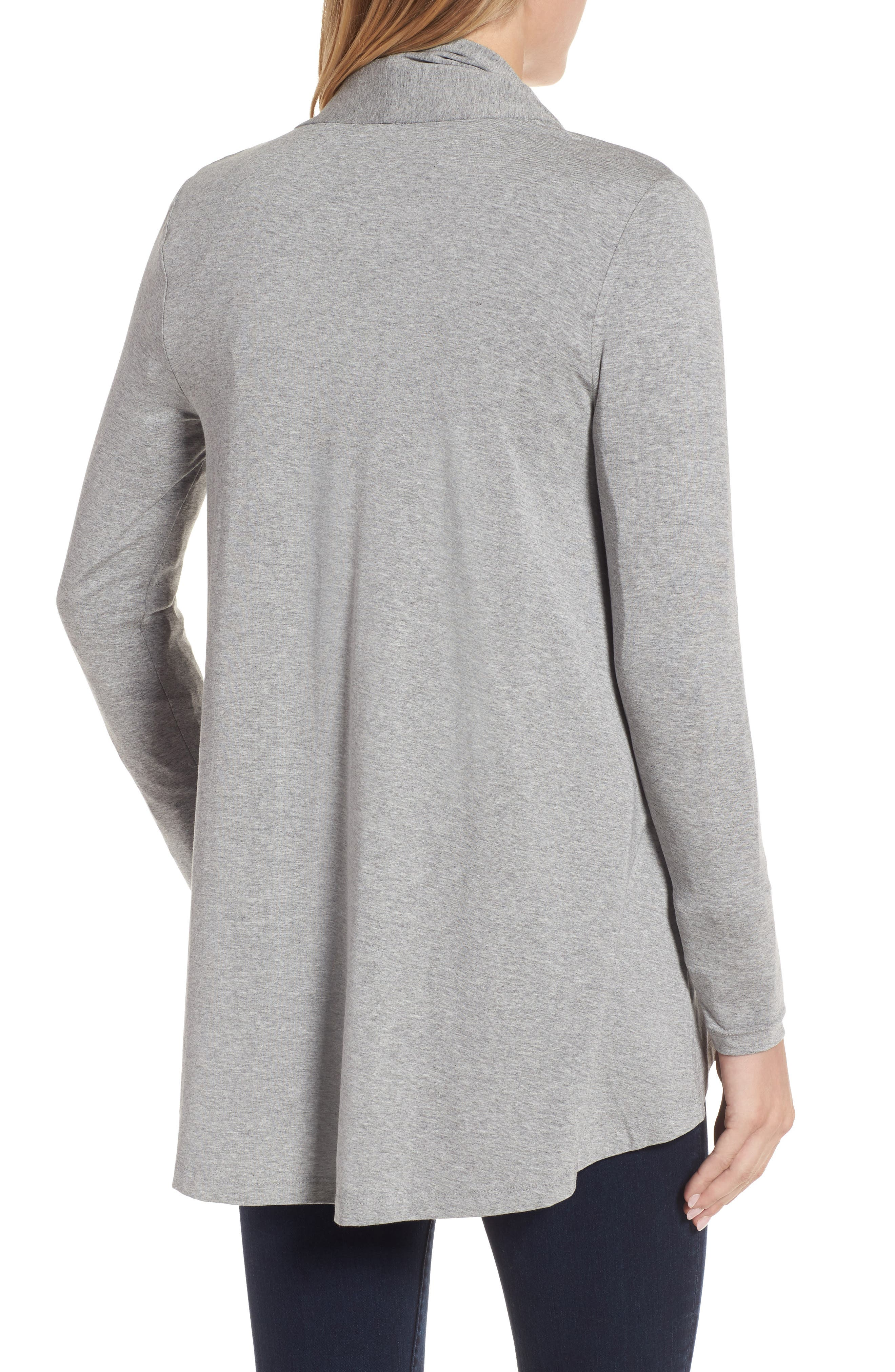 Open Front Cardigan,                             Alternate thumbnail 2, color,                             Light Heather Grey