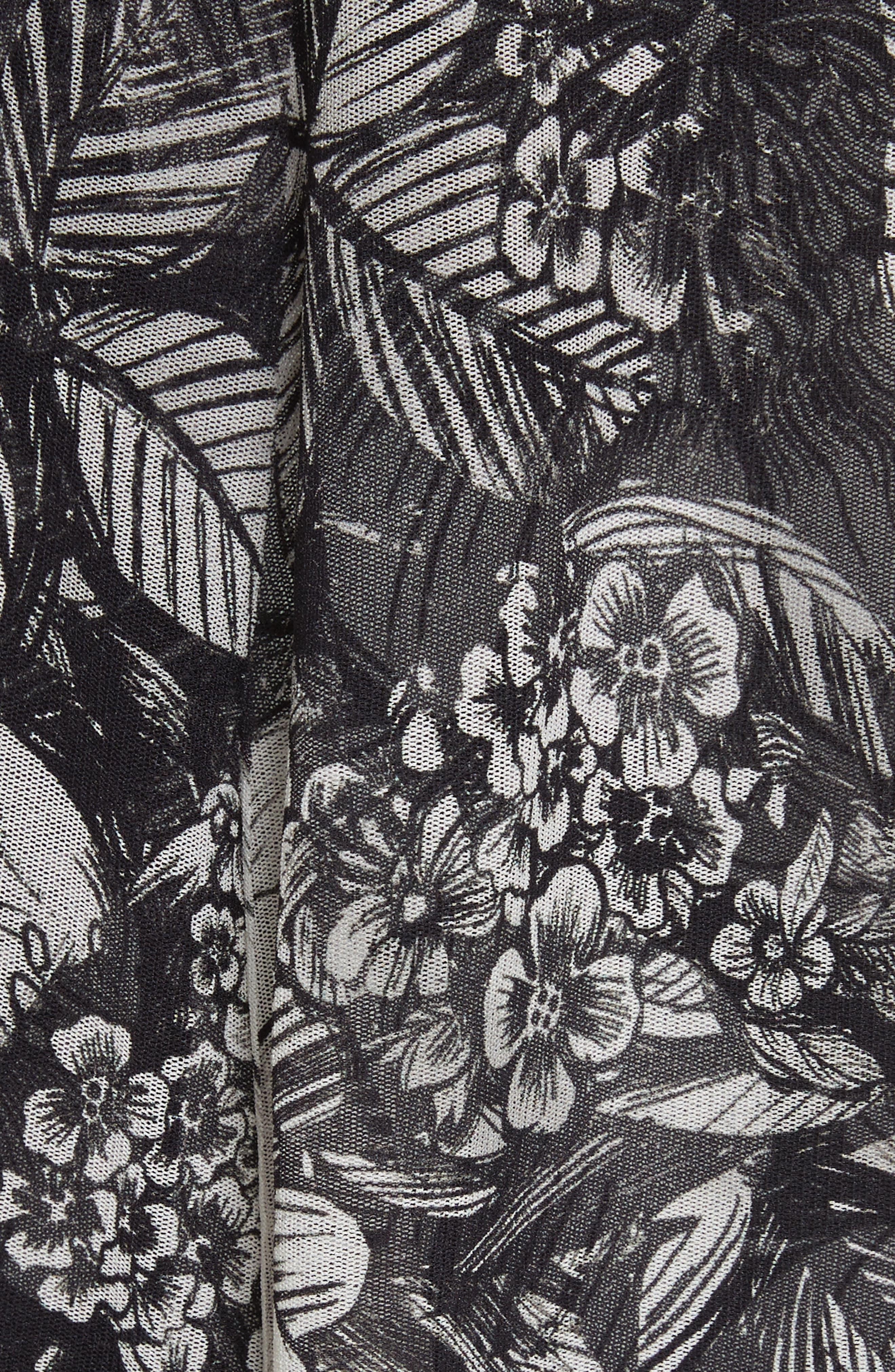 Popover Strapless Floral Print Tulle Jumpsuit,                             Alternate thumbnail 5, color,                             Nero
