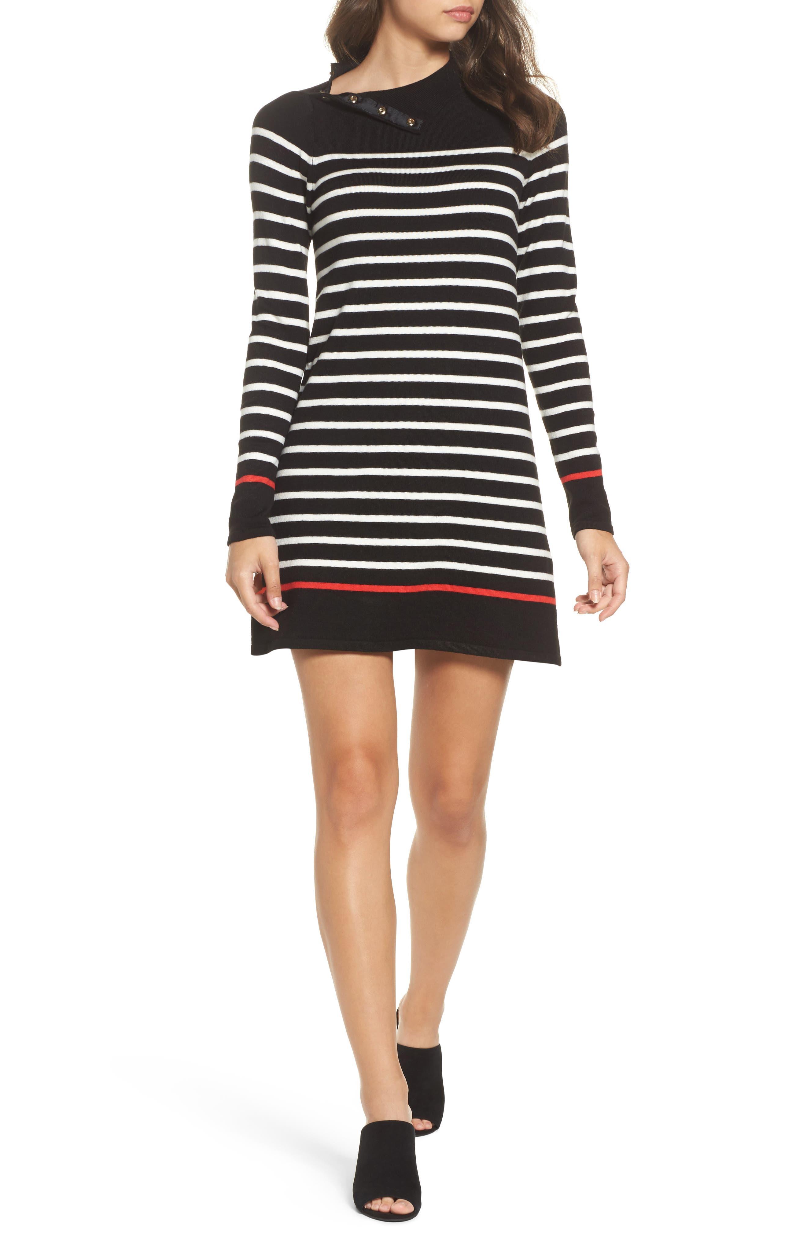 Alternate Image 6  - Eliza J Mockneck Stripe Shift Dress