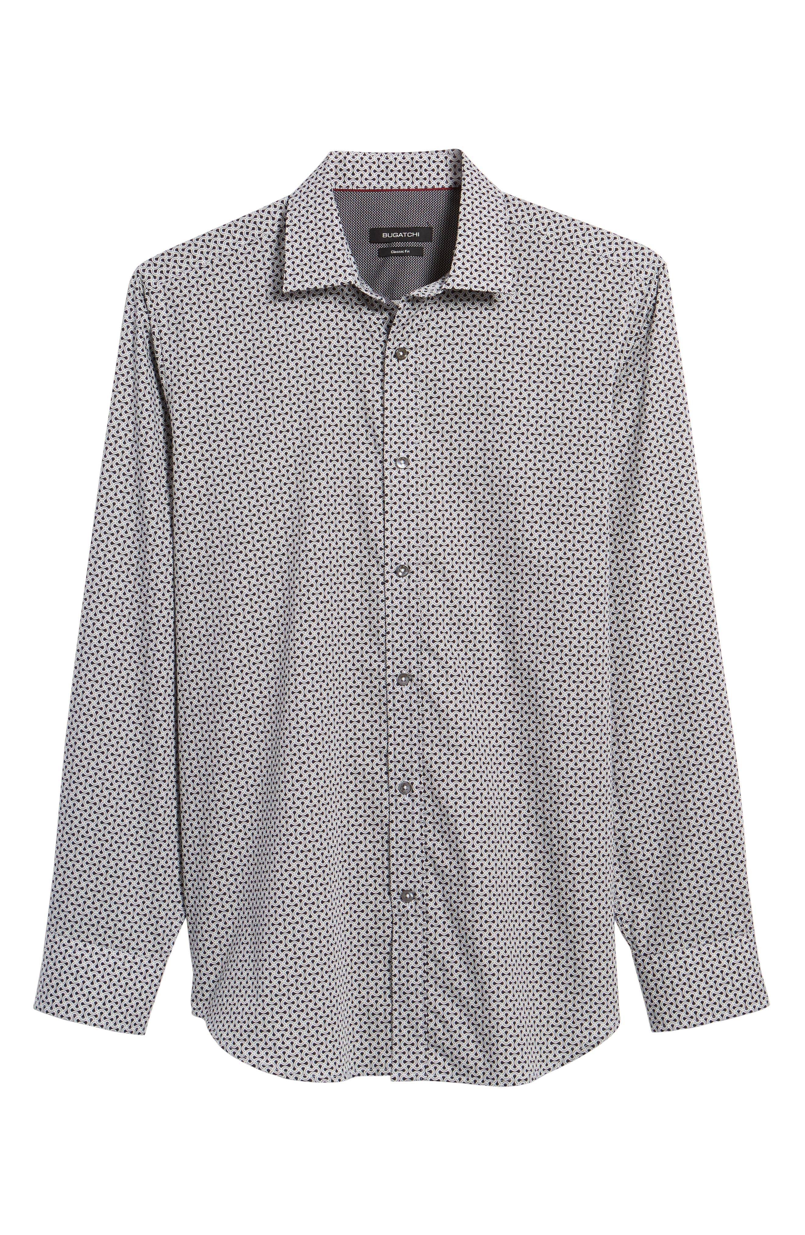 Classic Fit Print Sport Shirt,                             Alternate thumbnail 6, color,                             Black