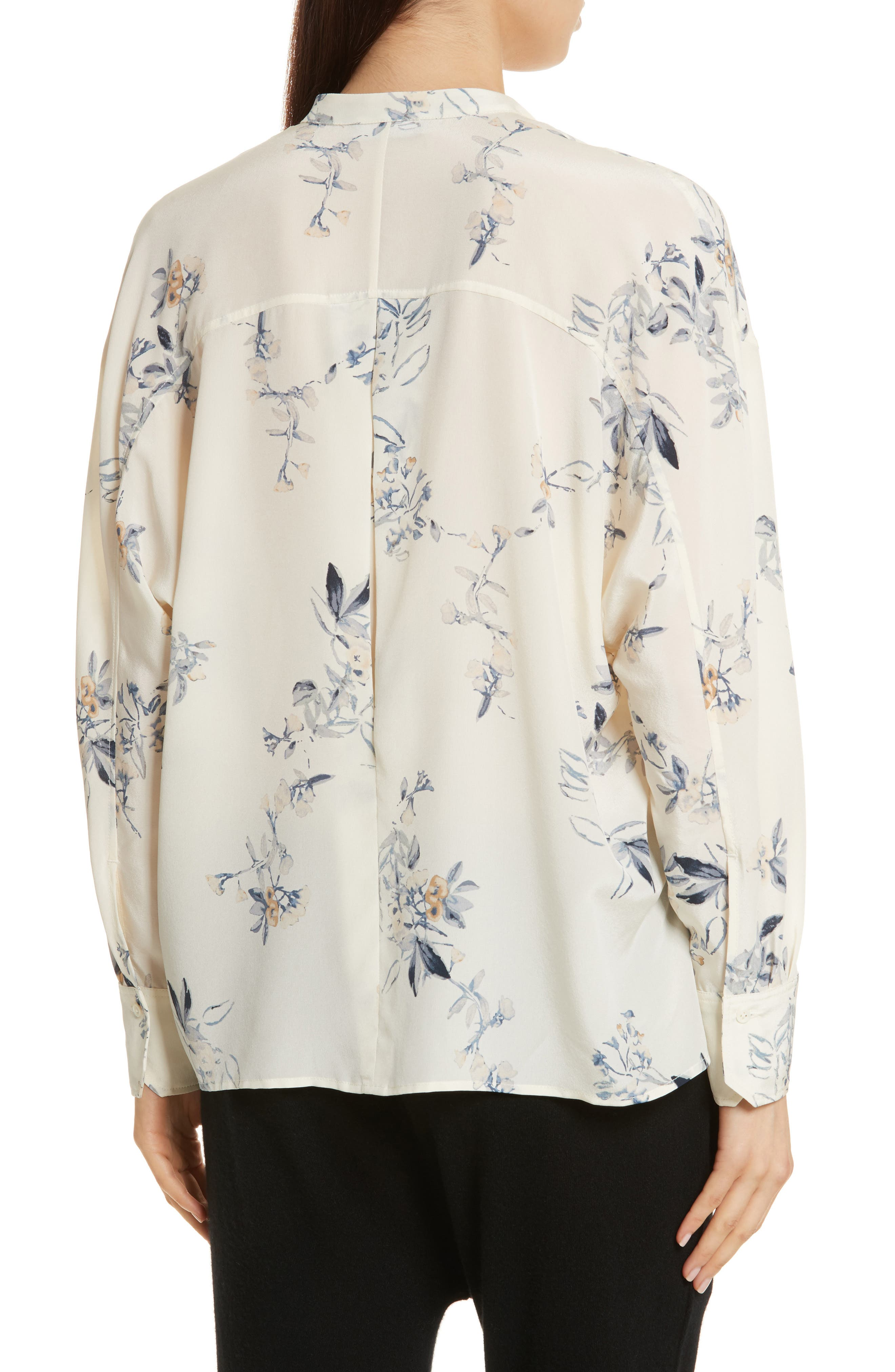 Floral Silk Blouse,                             Alternate thumbnail 2, color,                             Cream