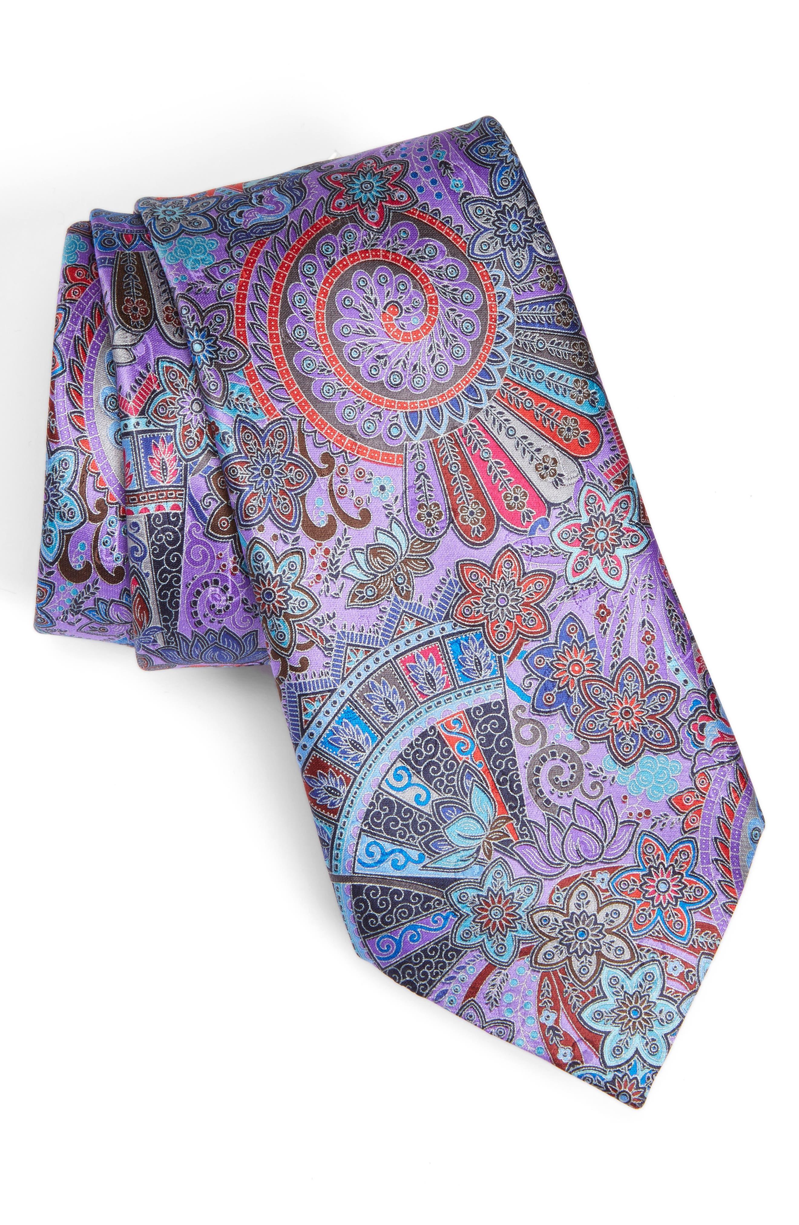 Quindici Paisley Silk Tie,                         Main,                         color, Purple