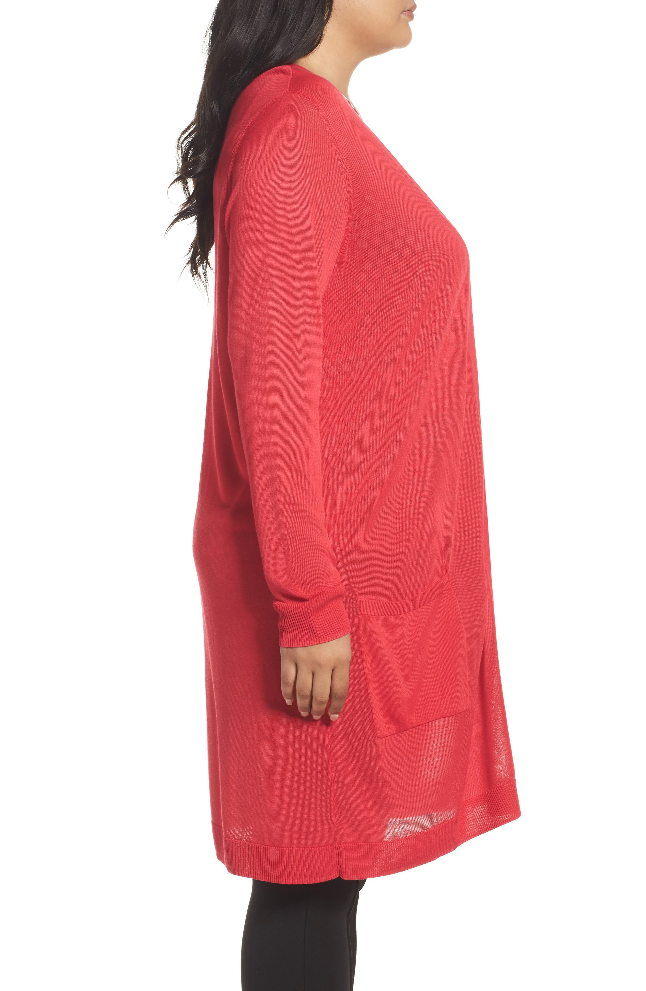 Long Cardigan,                             Alternate thumbnail 3, color,                             Red Barberry