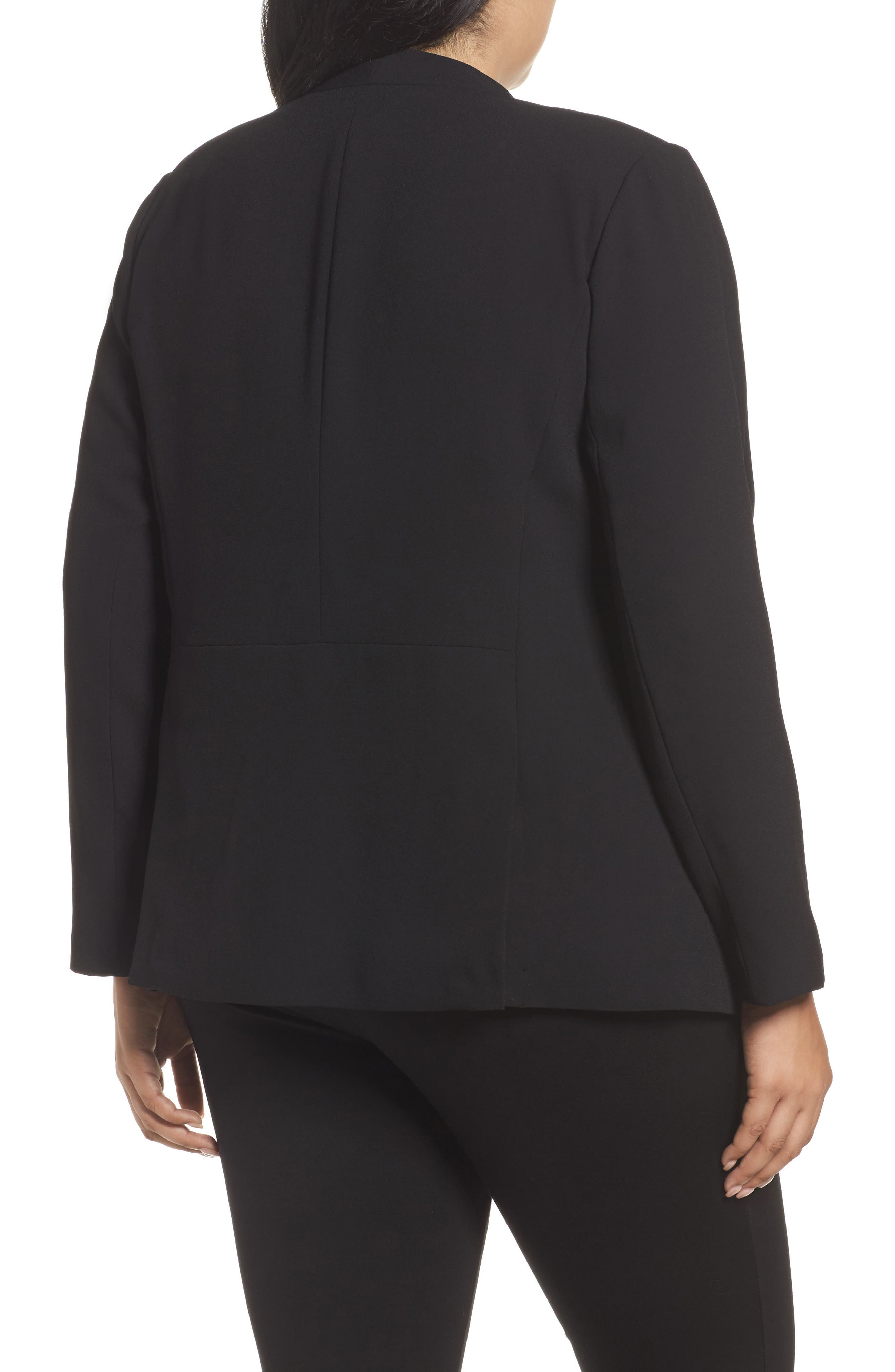 Alternate Image 2  - Sejour Drape Front Crepe Jacket (Plus Size)