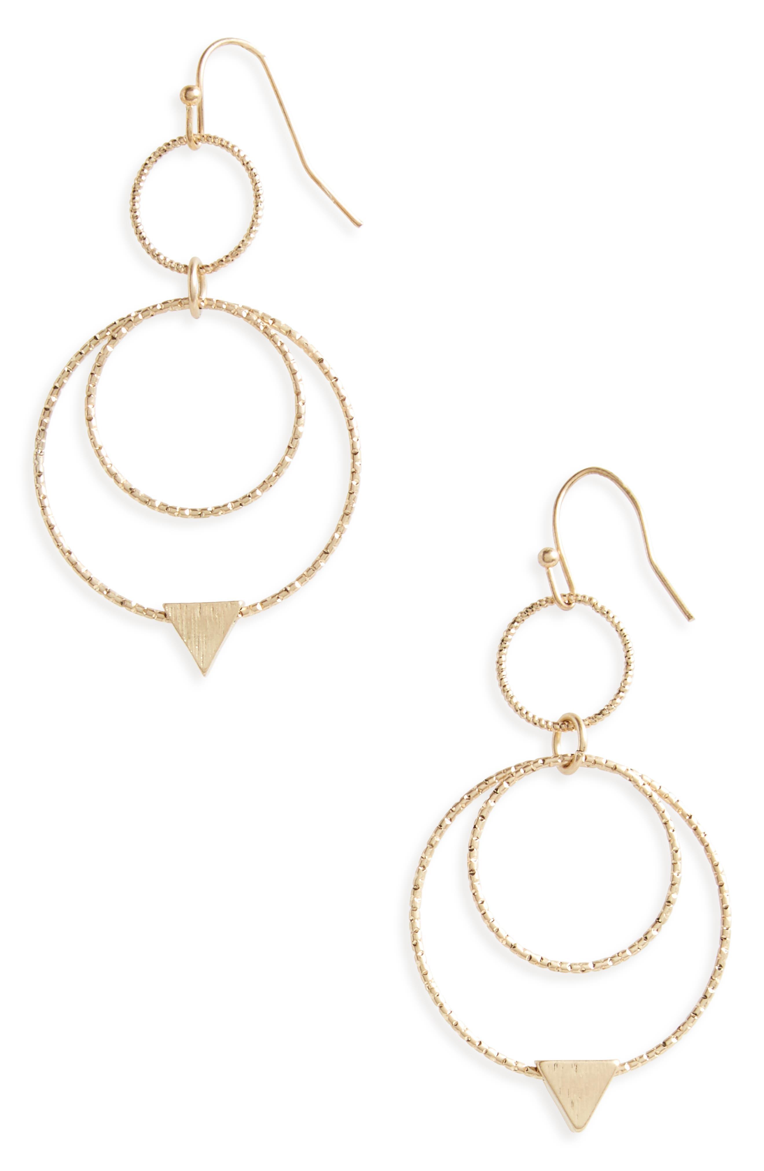 Canvas Double Hoop Earrings,                             Main thumbnail 1, color,                             Gold