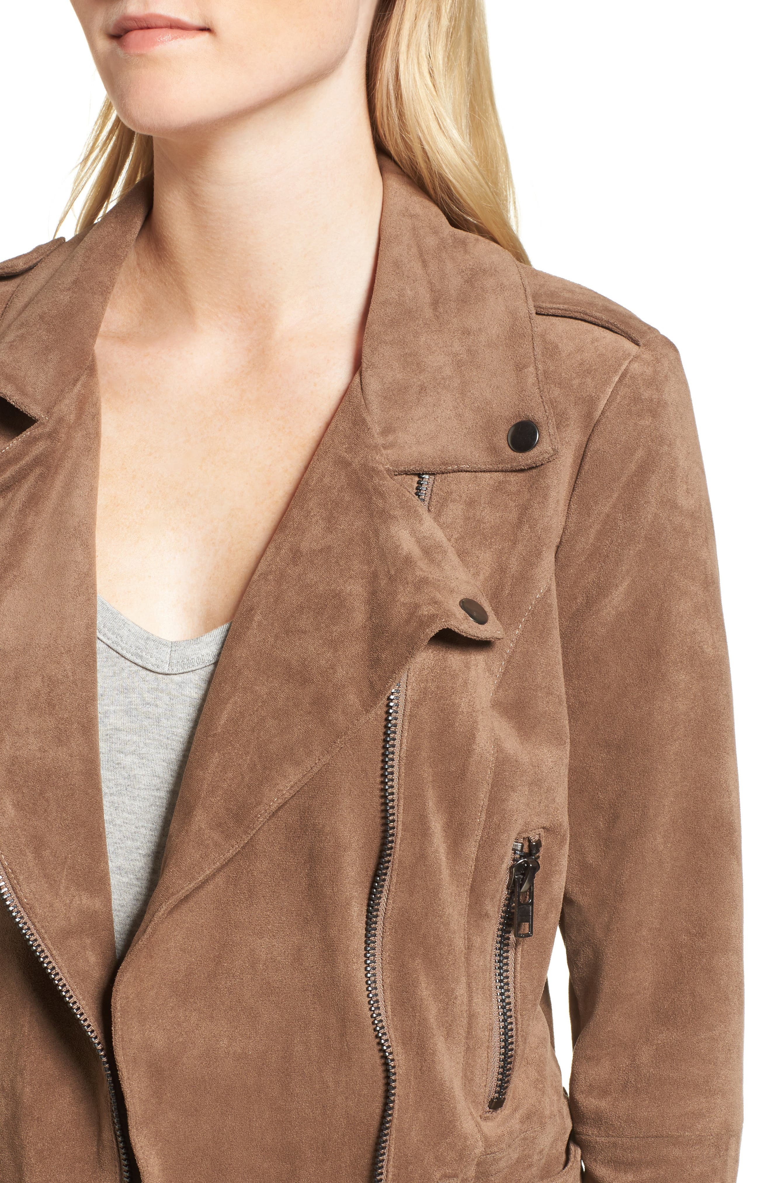 Waller Faux Suede Moto Jacket,                             Alternate thumbnail 4, color,                             Mocha