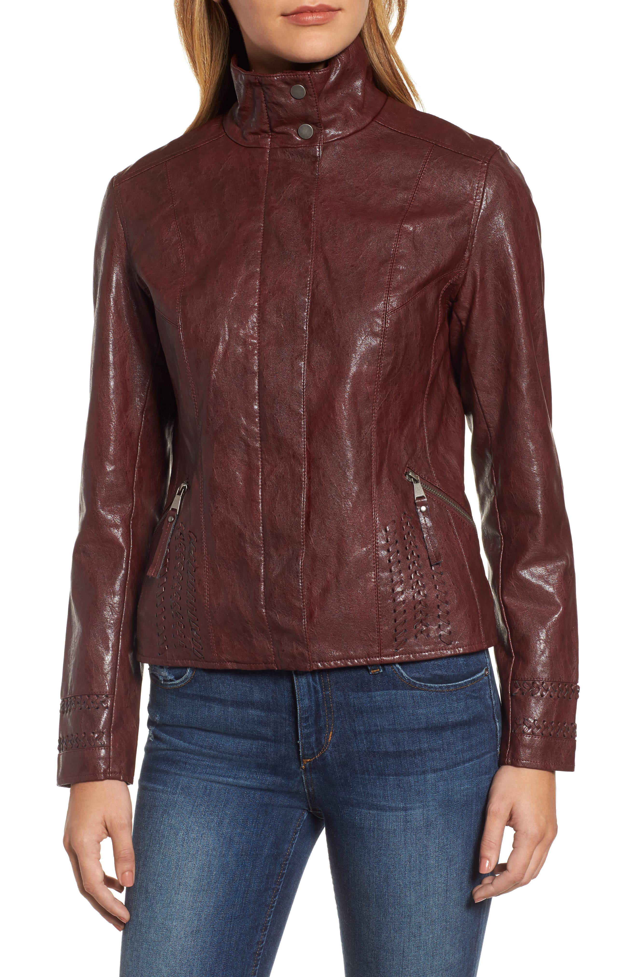 Brittney Faux Leather Jacket,                             Alternate thumbnail 4, color,                             Burgundy