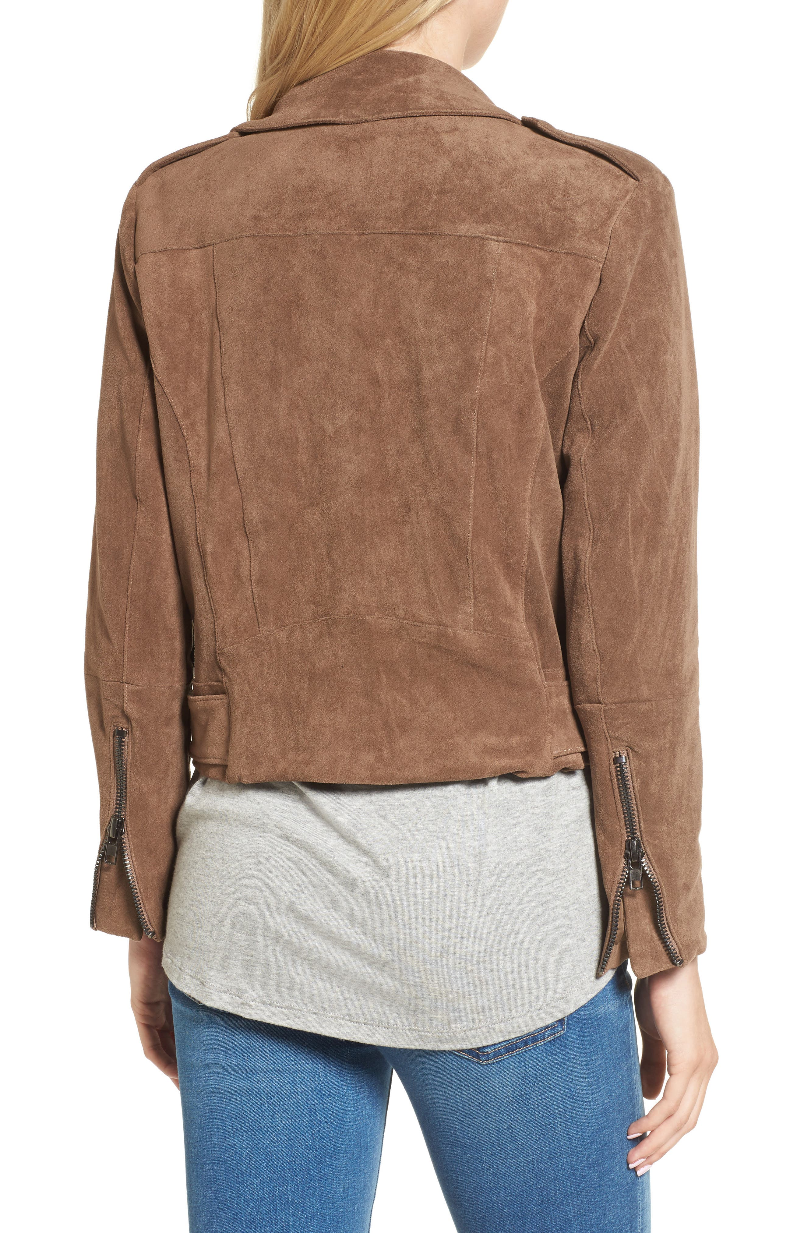 Waller Faux Suede Moto Jacket,                             Alternate thumbnail 2, color,                             Mocha