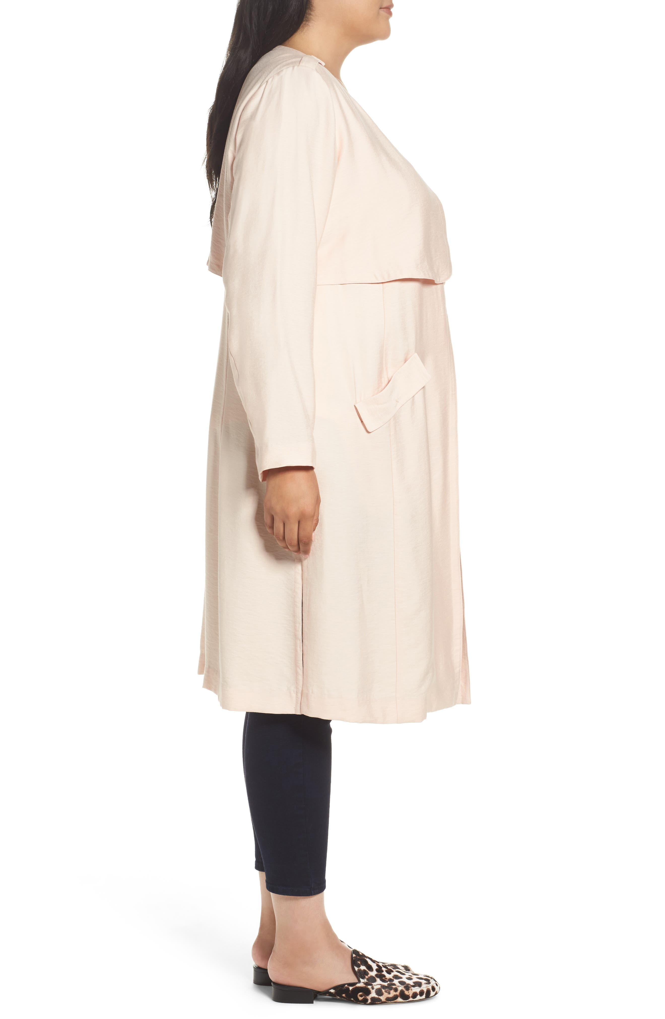 Long Open Front Trench Coat,                             Alternate thumbnail 3, color,                             Pink Wood