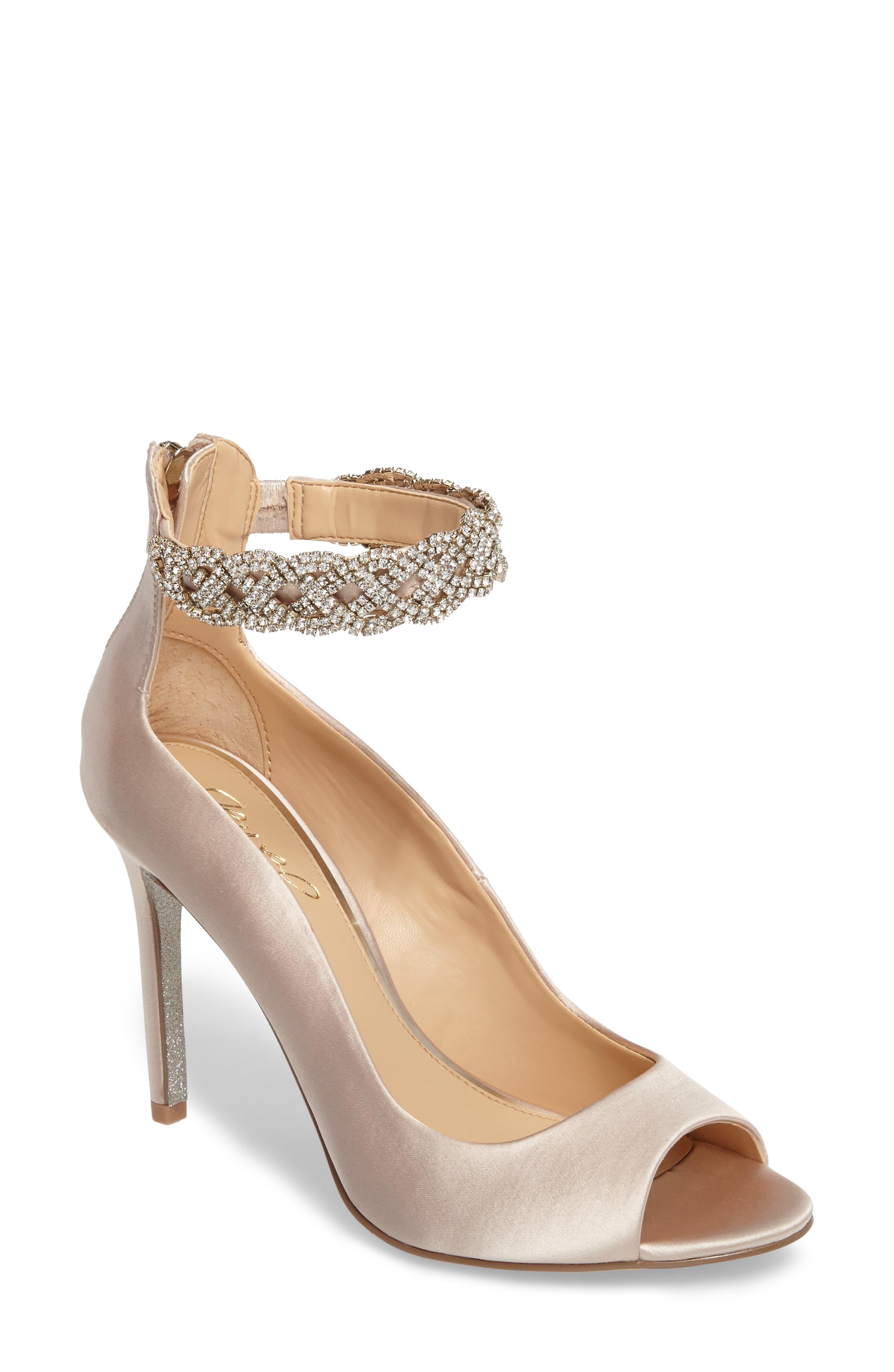 Alanis Embellished Ankle Strap Pump,                         Main,                         color, Champagne Satin