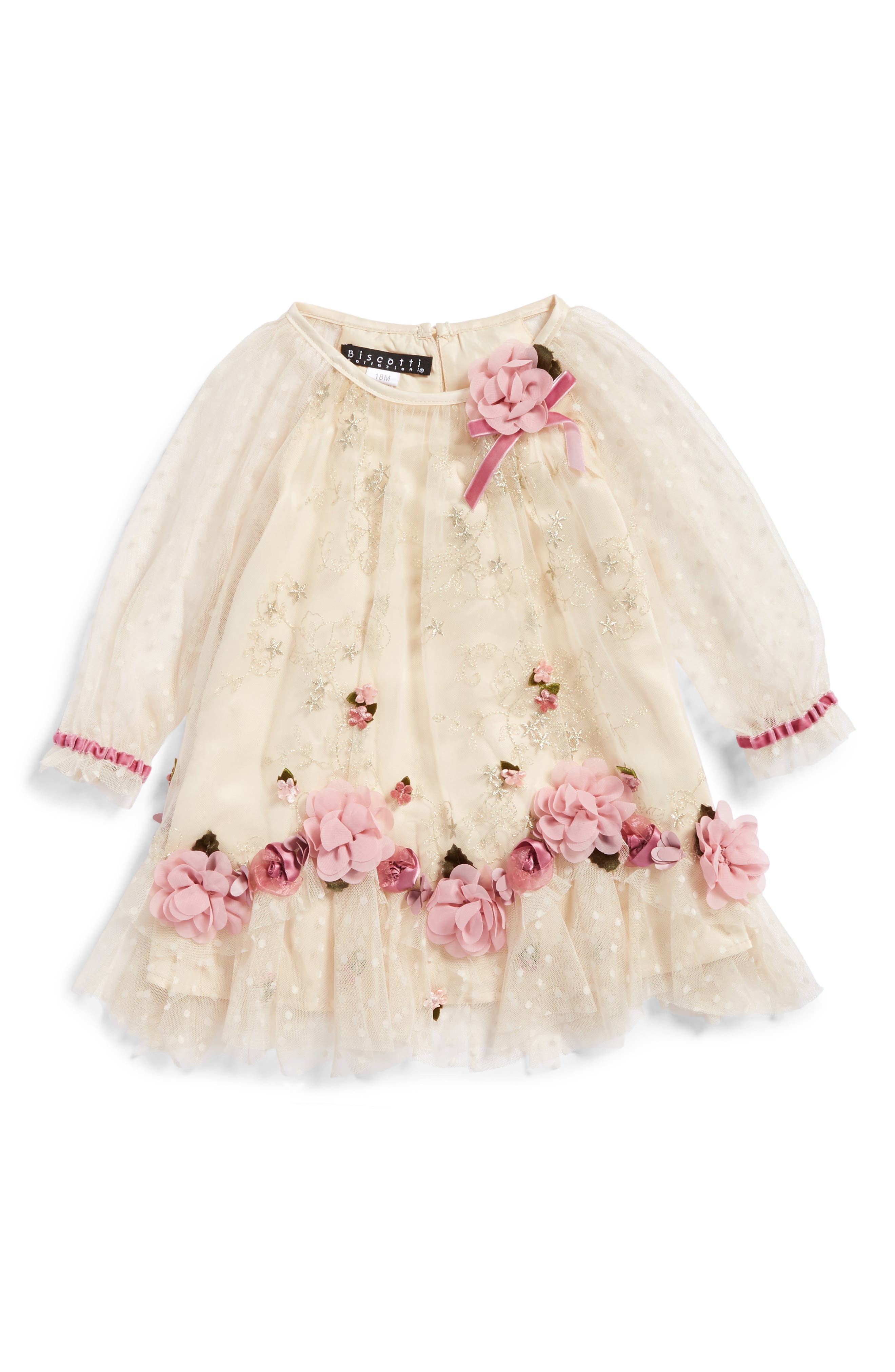 Biscotti Embroidered Mesh Dress (Baby Girls)
