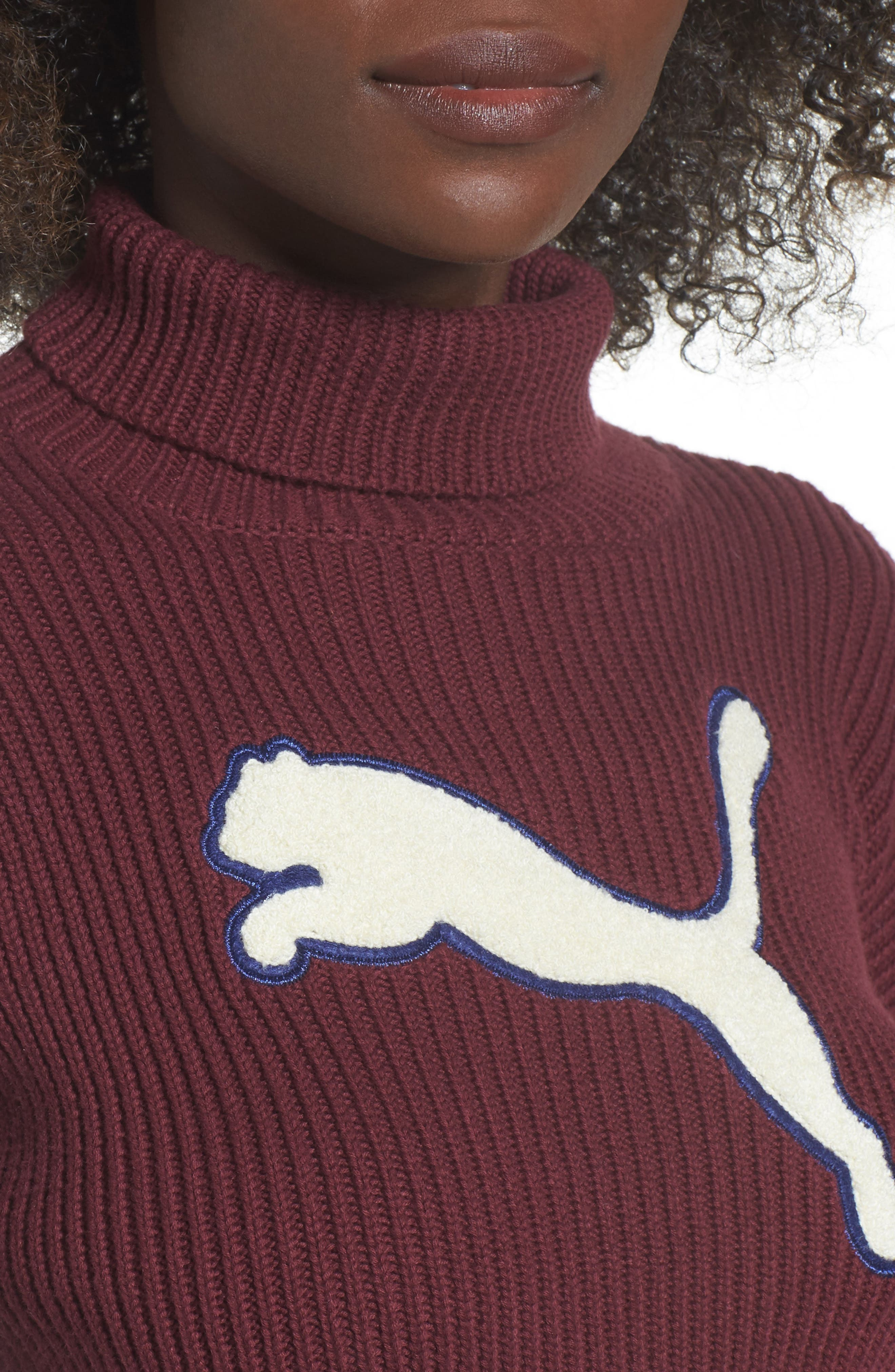 PUMA by Rihanna Crop Turtleneck,                             Alternate thumbnail 4, color,                             Tanny Port