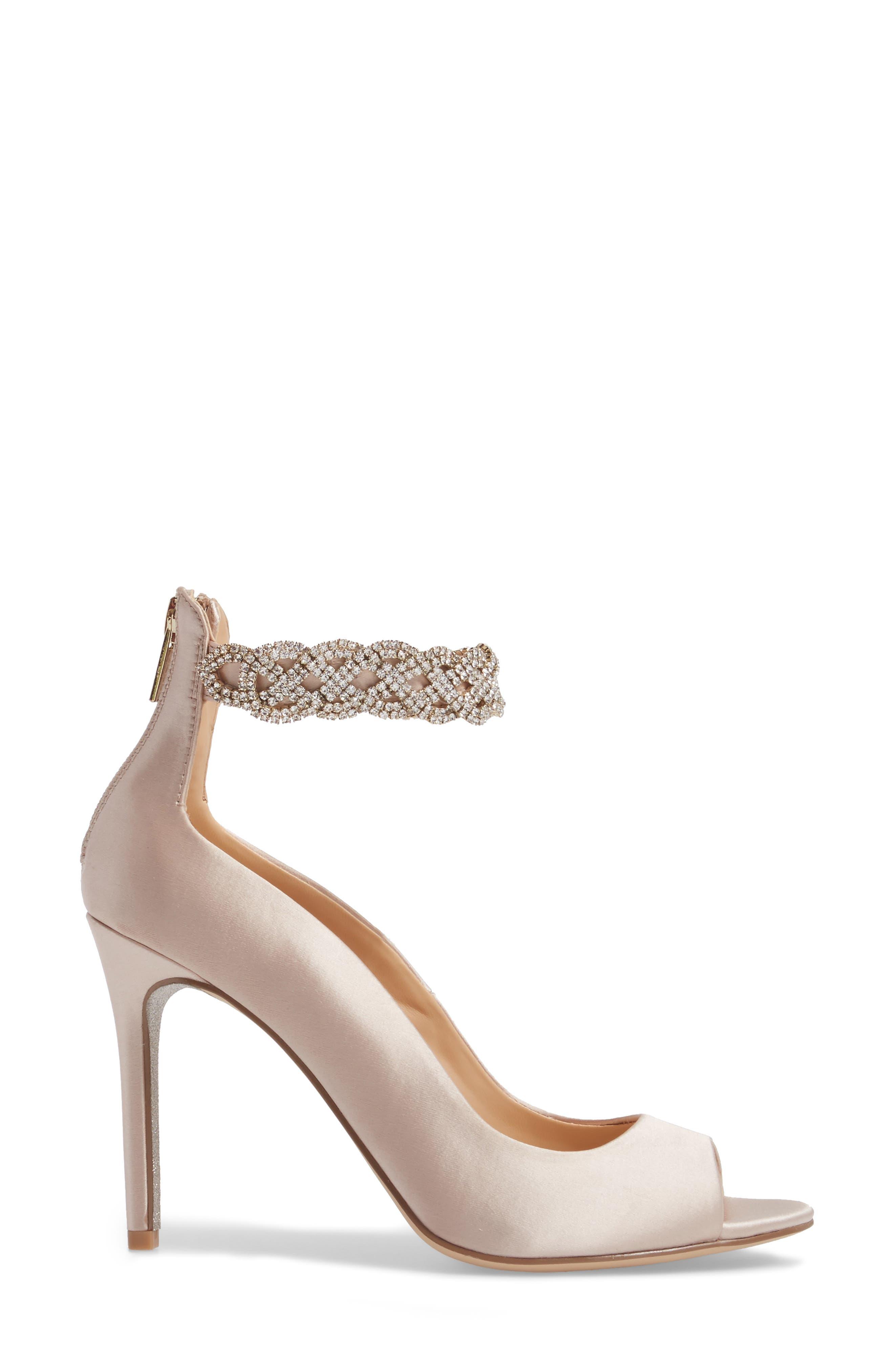 Alanis Embellished Ankle Strap Pump,                             Alternate thumbnail 3, color,                             Champagne Satin