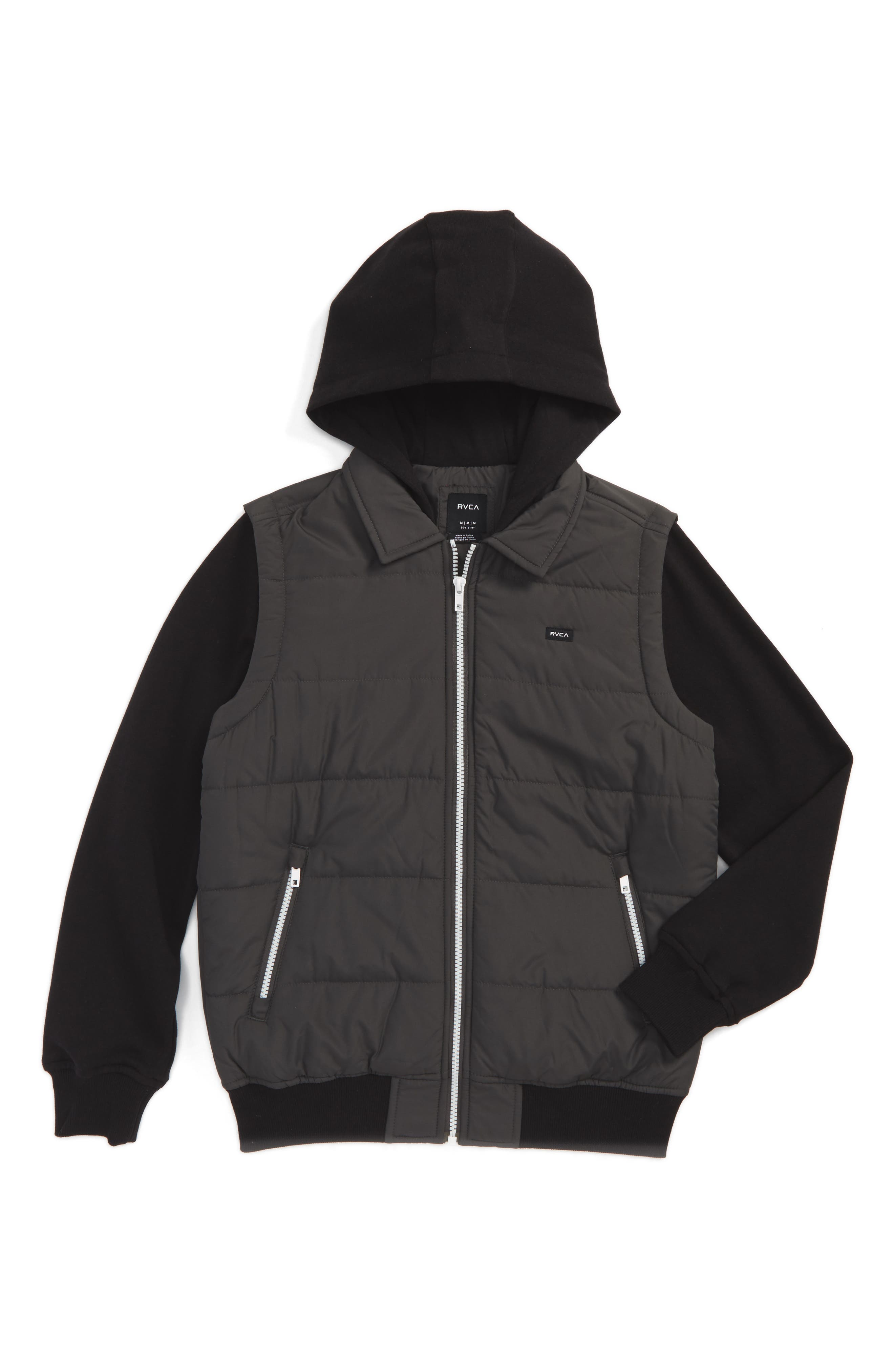 Puffer Jacket,                         Main,                         color, Black/ Charcoal