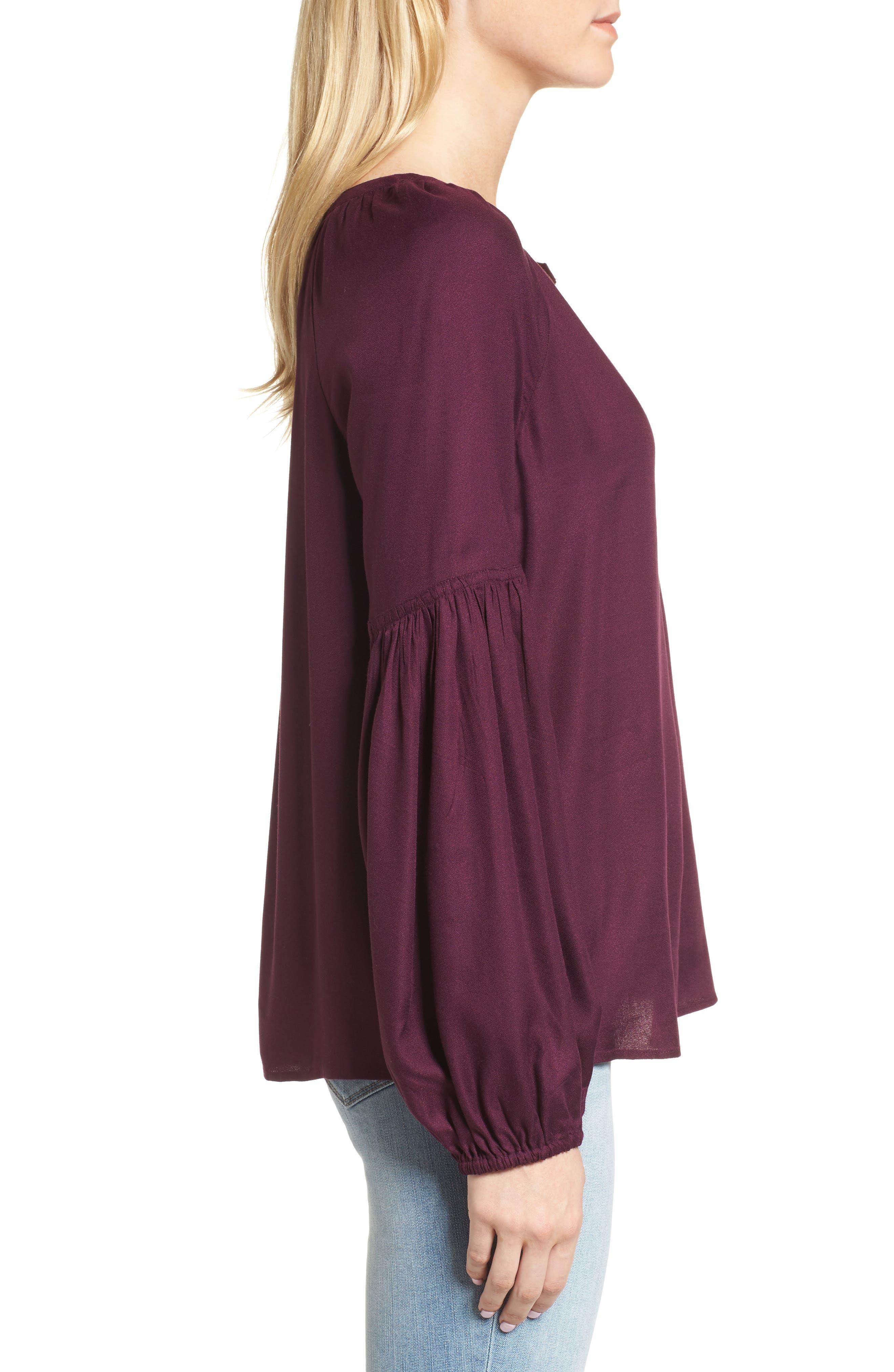 Blouson Sleeve Top,                             Alternate thumbnail 3, color,                             Purple Potent