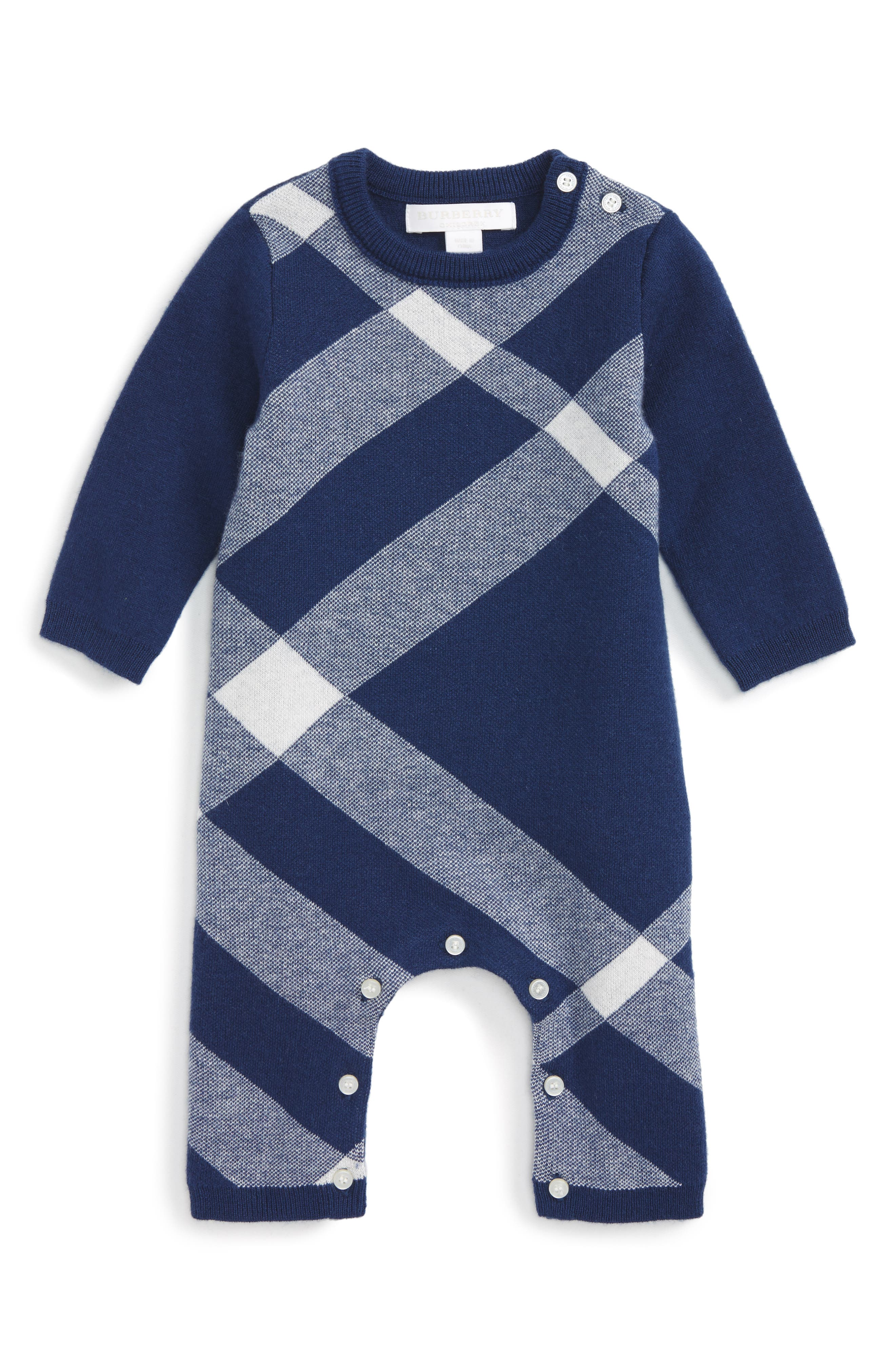 Main Image - Burberry Ashley Check Romper (Baby Girls)