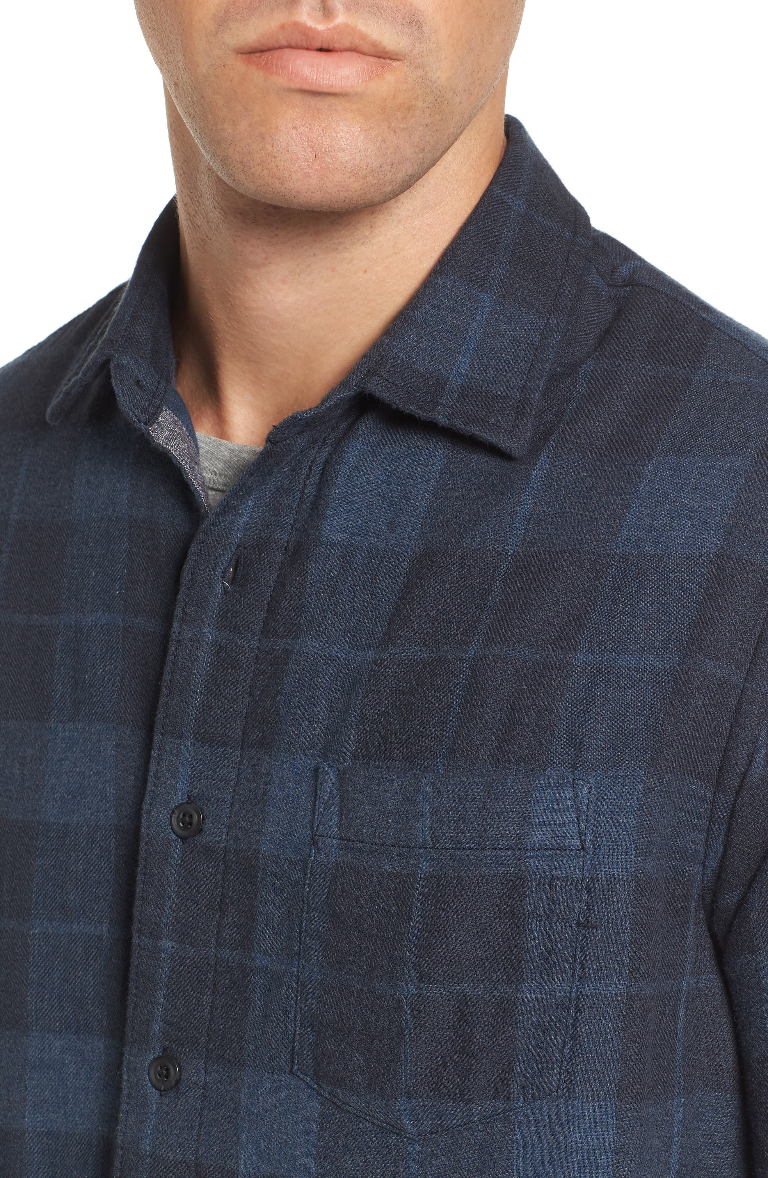 Helsby Double Cloth Plaid Sport Shirt,                             Alternate thumbnail 4, color,                             Charcoal Navy Heather