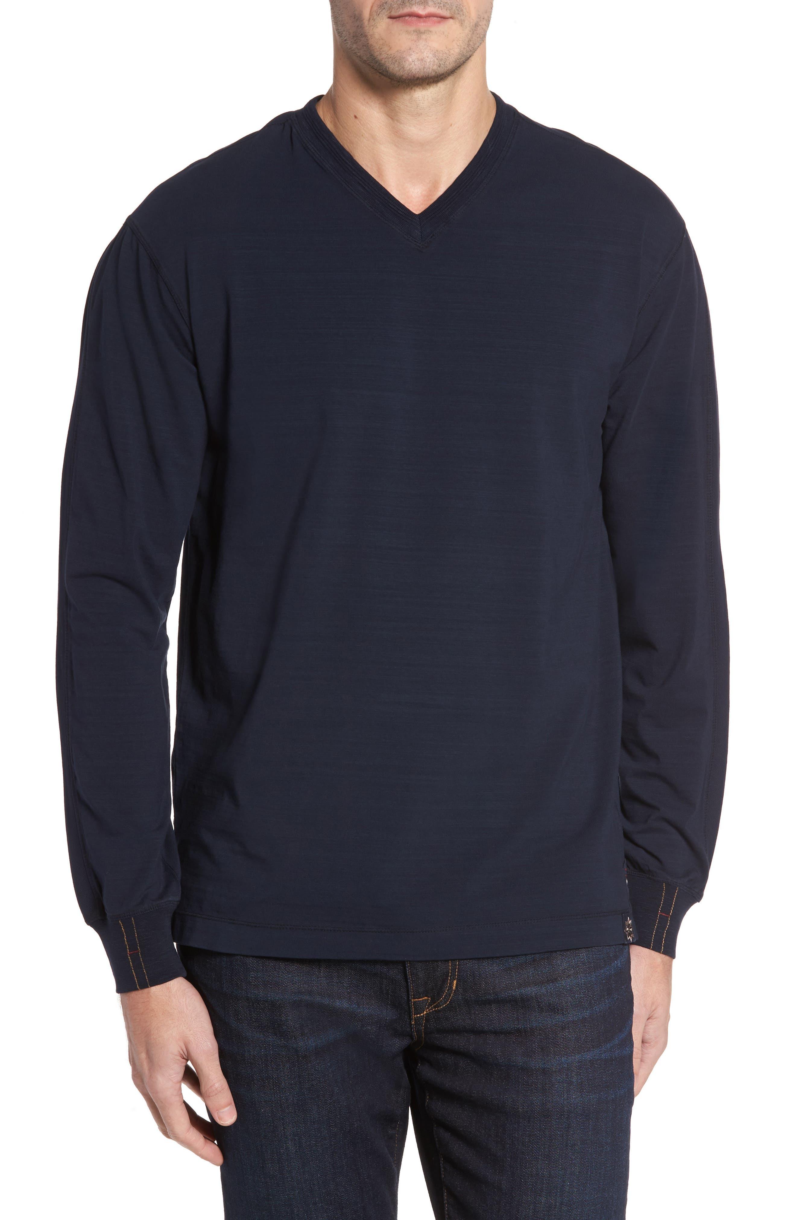 Vinn Slubbed Long Sleeve V-Neck T-Shirt,                         Main,                         color, Ink